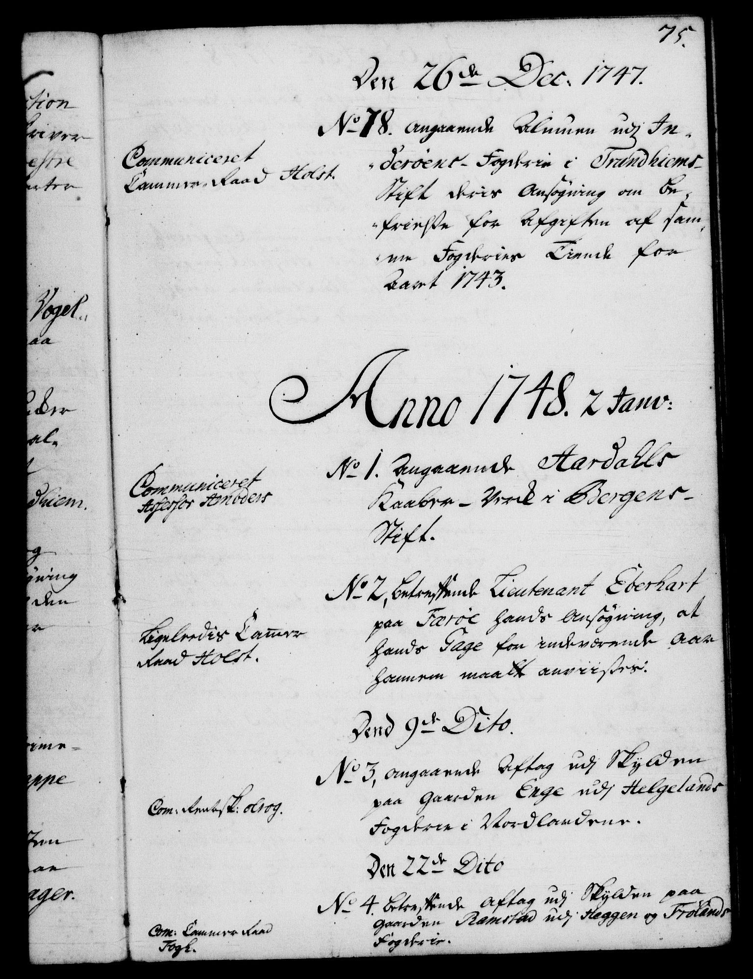 RA, Rentekammeret, Kammerkanselliet, G/Gf/Gfb/L0005: Register til norske relasjons- og resolusjonsprotokoller (merket RK 52.100), 1744-1754, s. 75