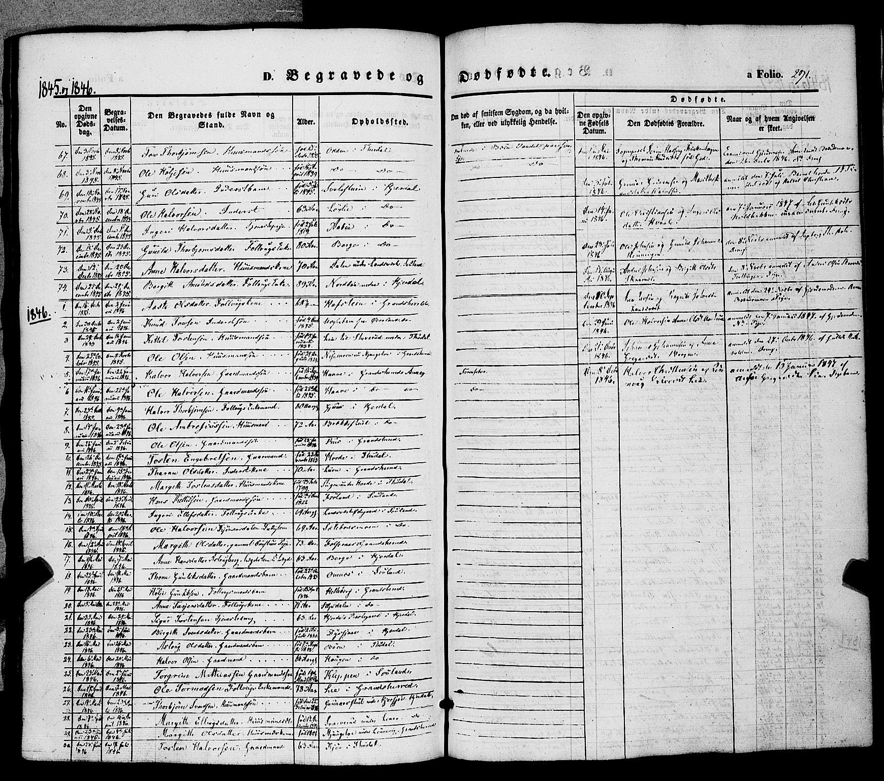 SAKO, Hjartdal kirkebøker, F/Fa/L0008: Ministerialbok nr. I 8, 1844-1859, s. 291