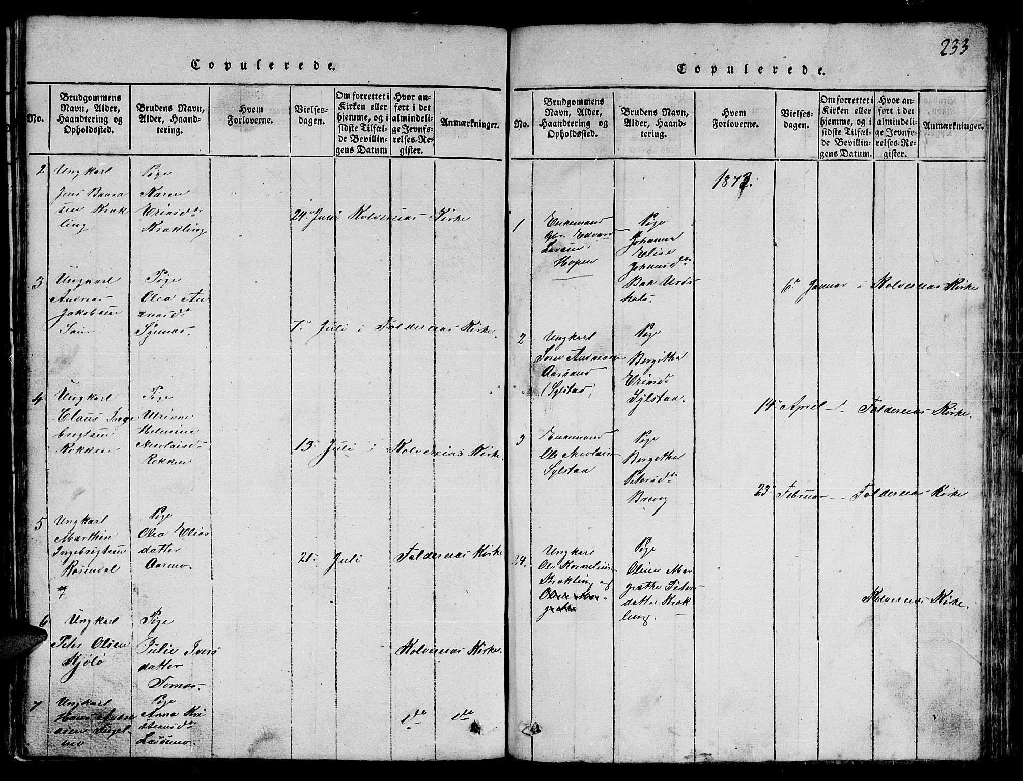 SAT, Ministerialprotokoller, klokkerbøker og fødselsregistre - Nord-Trøndelag, 780/L0648: Klokkerbok nr. 780C01 /3, 1815-1877, s. 233