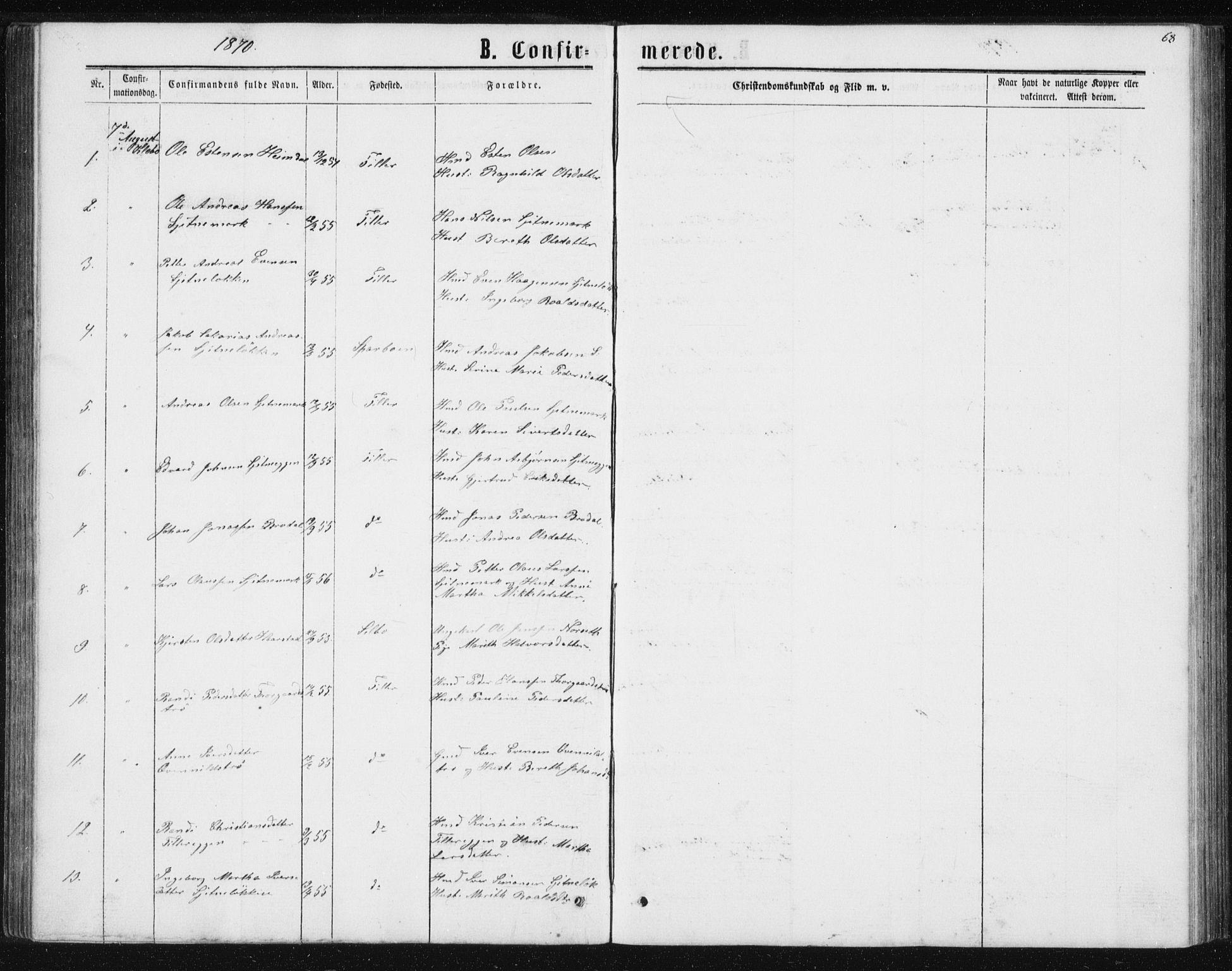 SAT, Ministerialprotokoller, klokkerbøker og fødselsregistre - Sør-Trøndelag, 621/L0459: Klokkerbok nr. 621C02, 1866-1895, s. 68