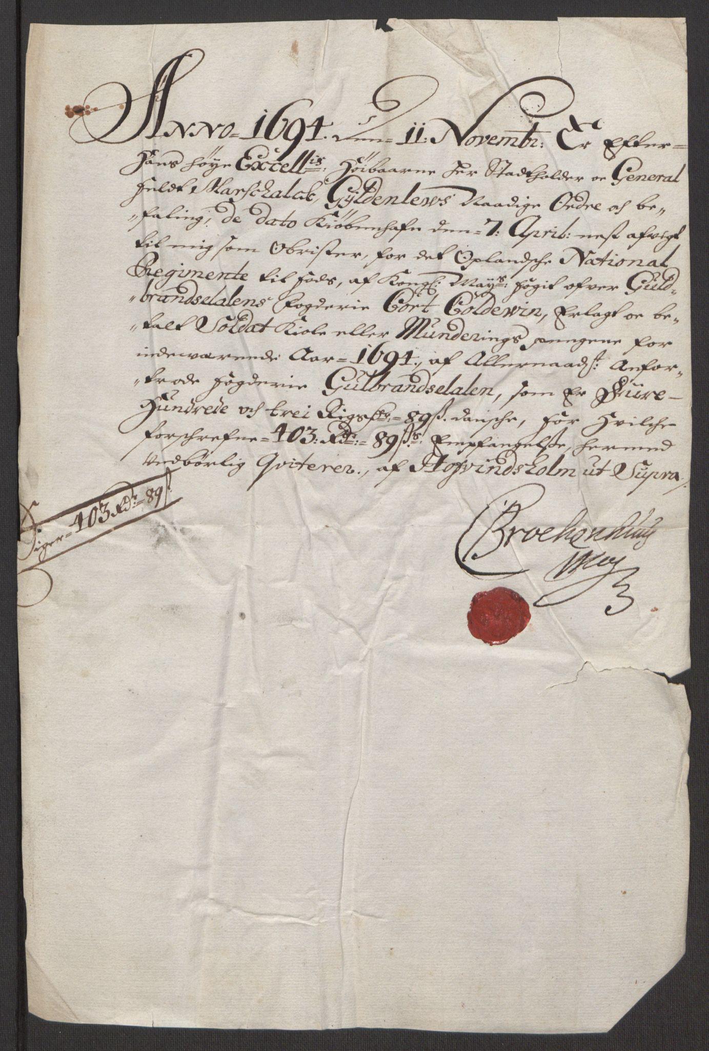 RA, Rentekammeret inntil 1814, Reviderte regnskaper, Fogderegnskap, R17/L1168: Fogderegnskap Gudbrandsdal, 1694, s. 369