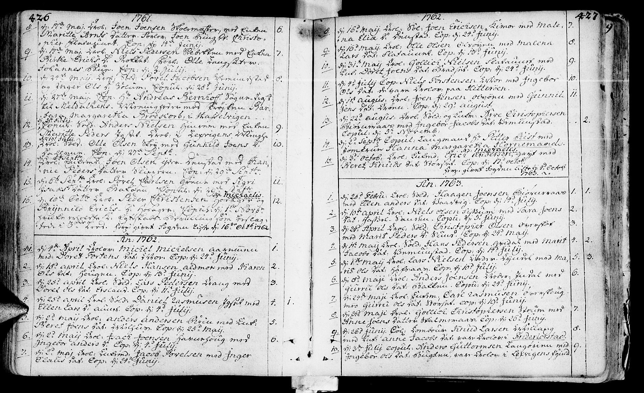 SAT, Ministerialprotokoller, klokkerbøker og fødselsregistre - Sør-Trøndelag, 646/L0605: Ministerialbok nr. 646A03, 1751-1790, s. 426-427