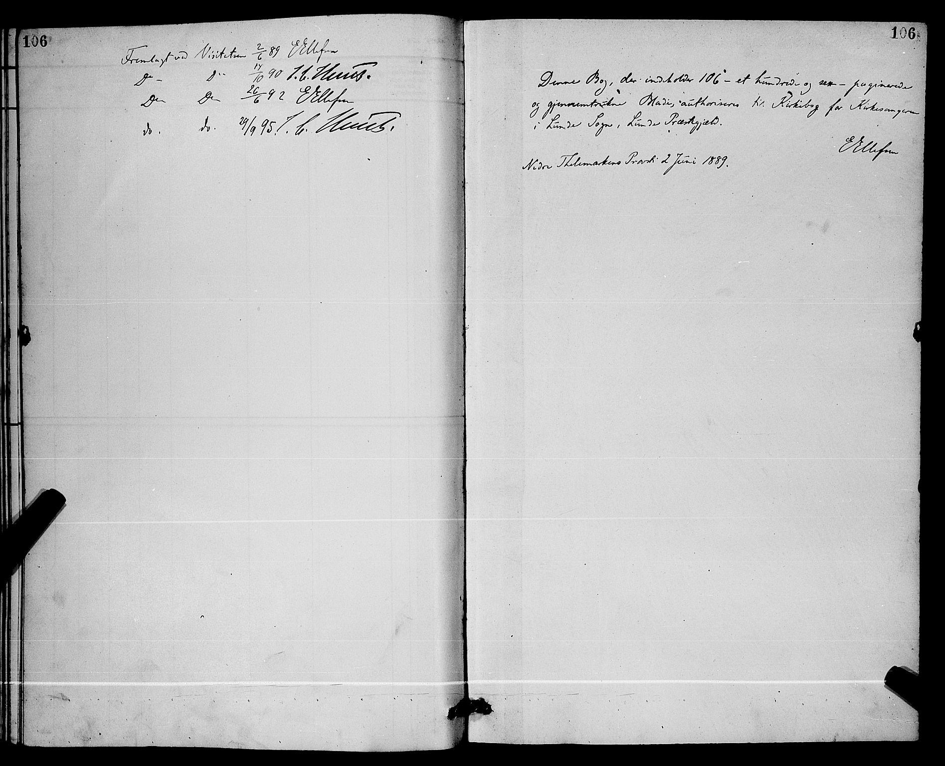 SAKO, Lunde kirkebøker, G/Ga/L0002: Klokkerbok nr. I 2, 1887-1896, s. 106