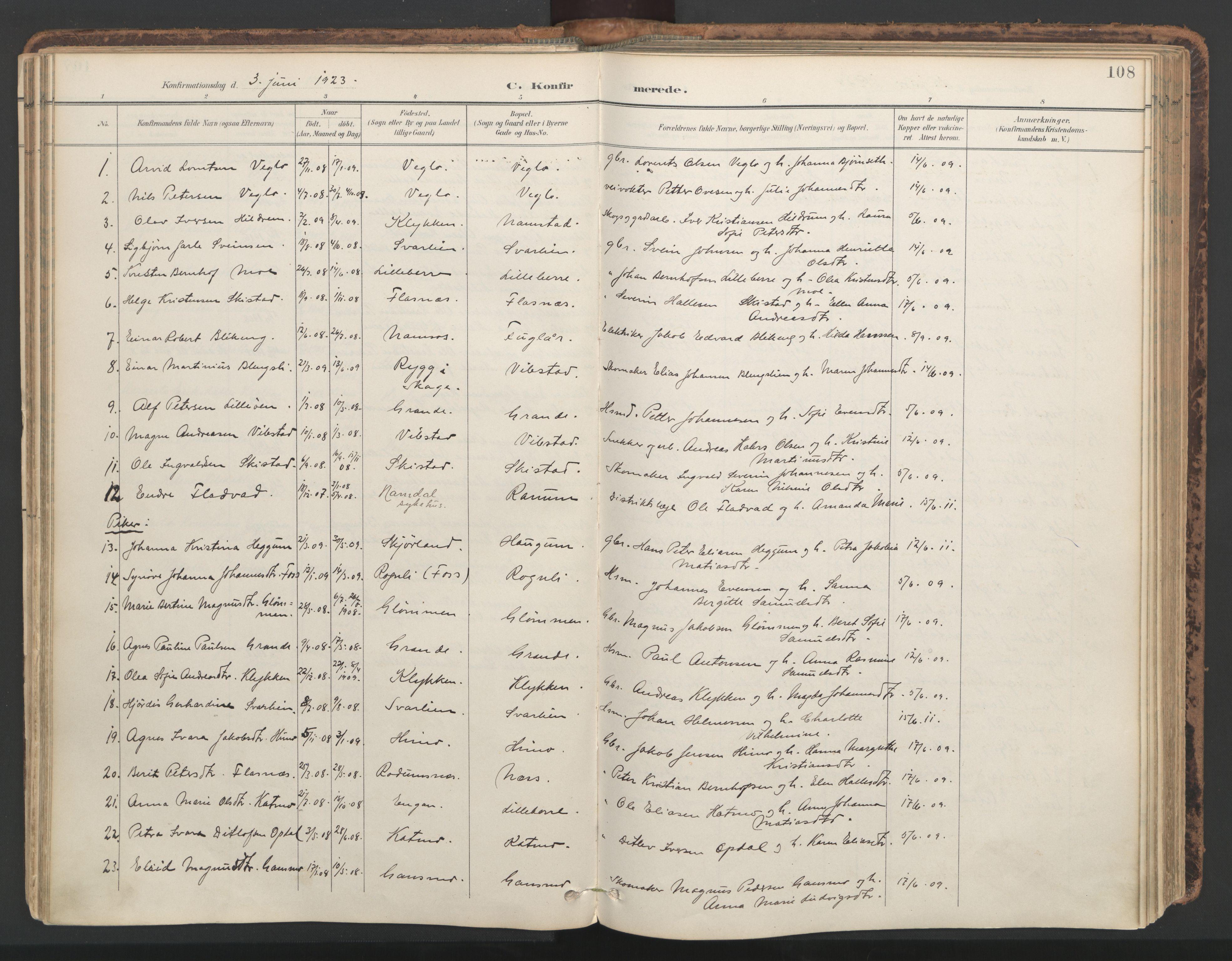 SAT, Ministerialprotokoller, klokkerbøker og fødselsregistre - Nord-Trøndelag, 764/L0556: Ministerialbok nr. 764A11, 1897-1924, s. 108