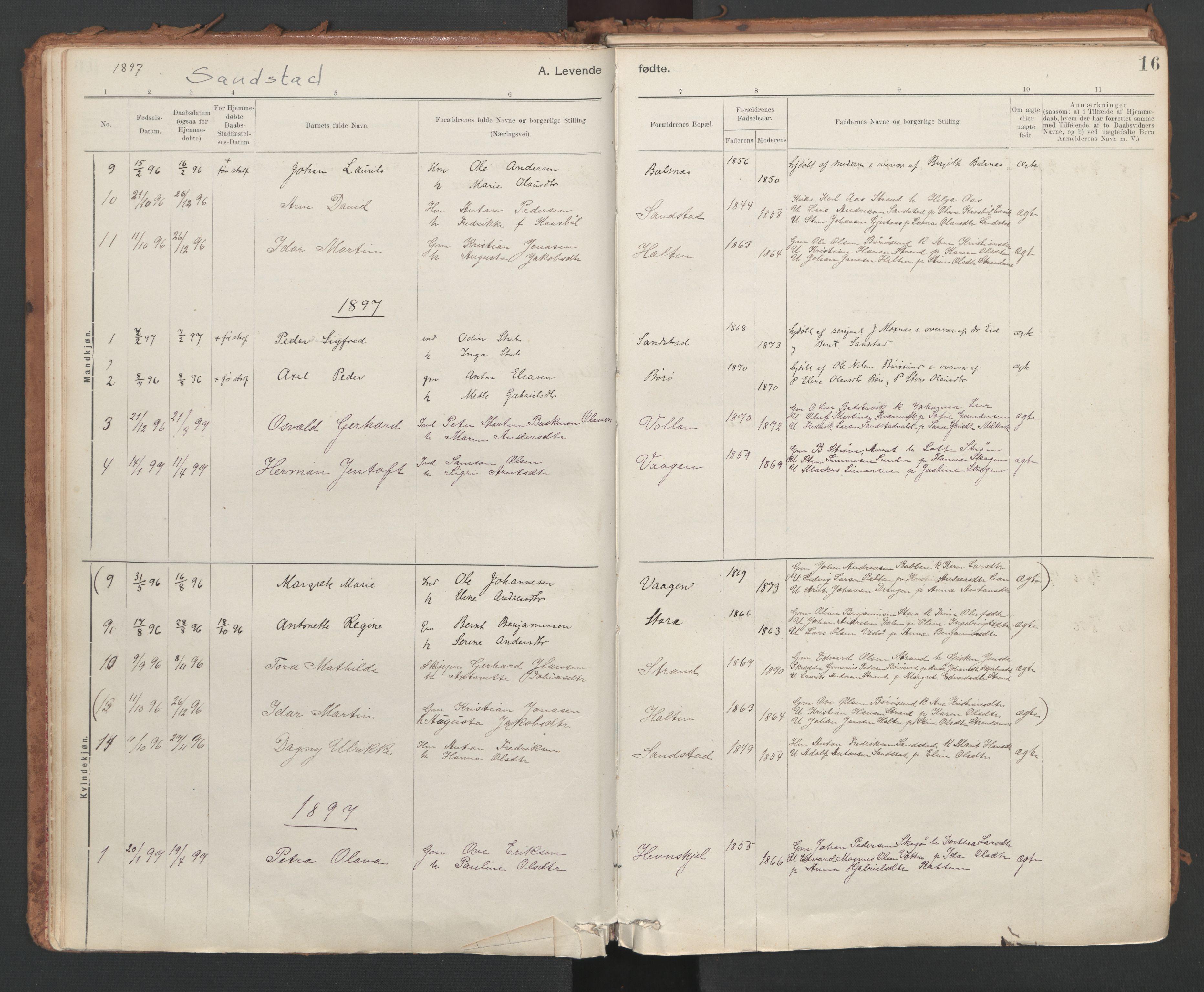 SAT, Ministerialprotokoller, klokkerbøker og fødselsregistre - Sør-Trøndelag, 639/L0572: Ministerialbok nr. 639A01, 1890-1920, s. 16