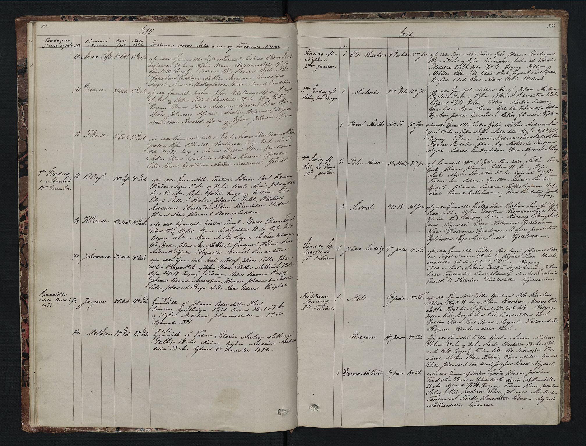 SAH, Vestre Toten prestekontor, Klokkerbok nr. 7, 1872-1900, s. 34-35
