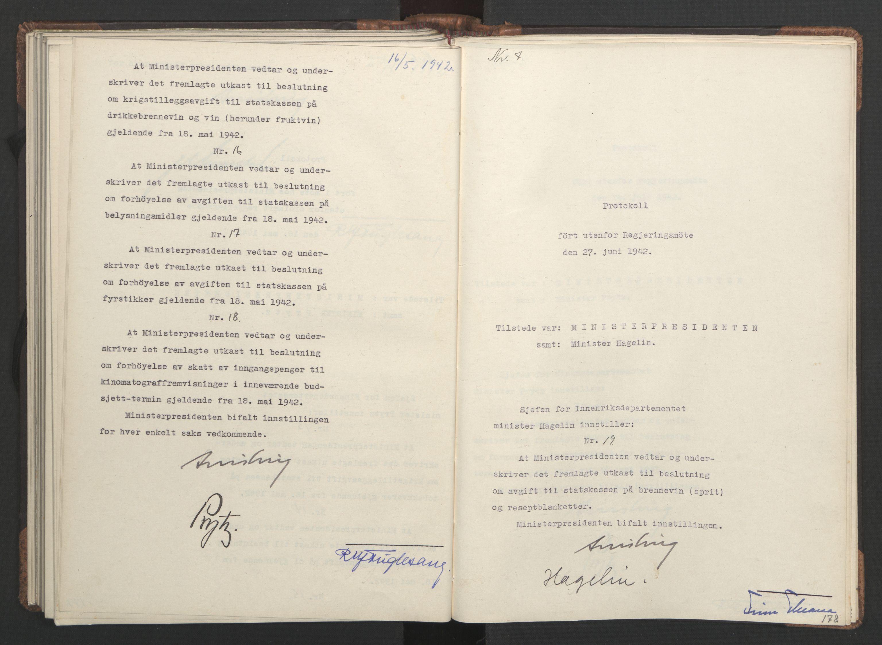 RA, NS-administrasjonen 1940-1945 (Statsrådsekretariatet, de kommisariske statsråder mm), D/Da/L0001: Beslutninger og tillegg (1-952 og 1-32), 1942, s. 177b-178a
