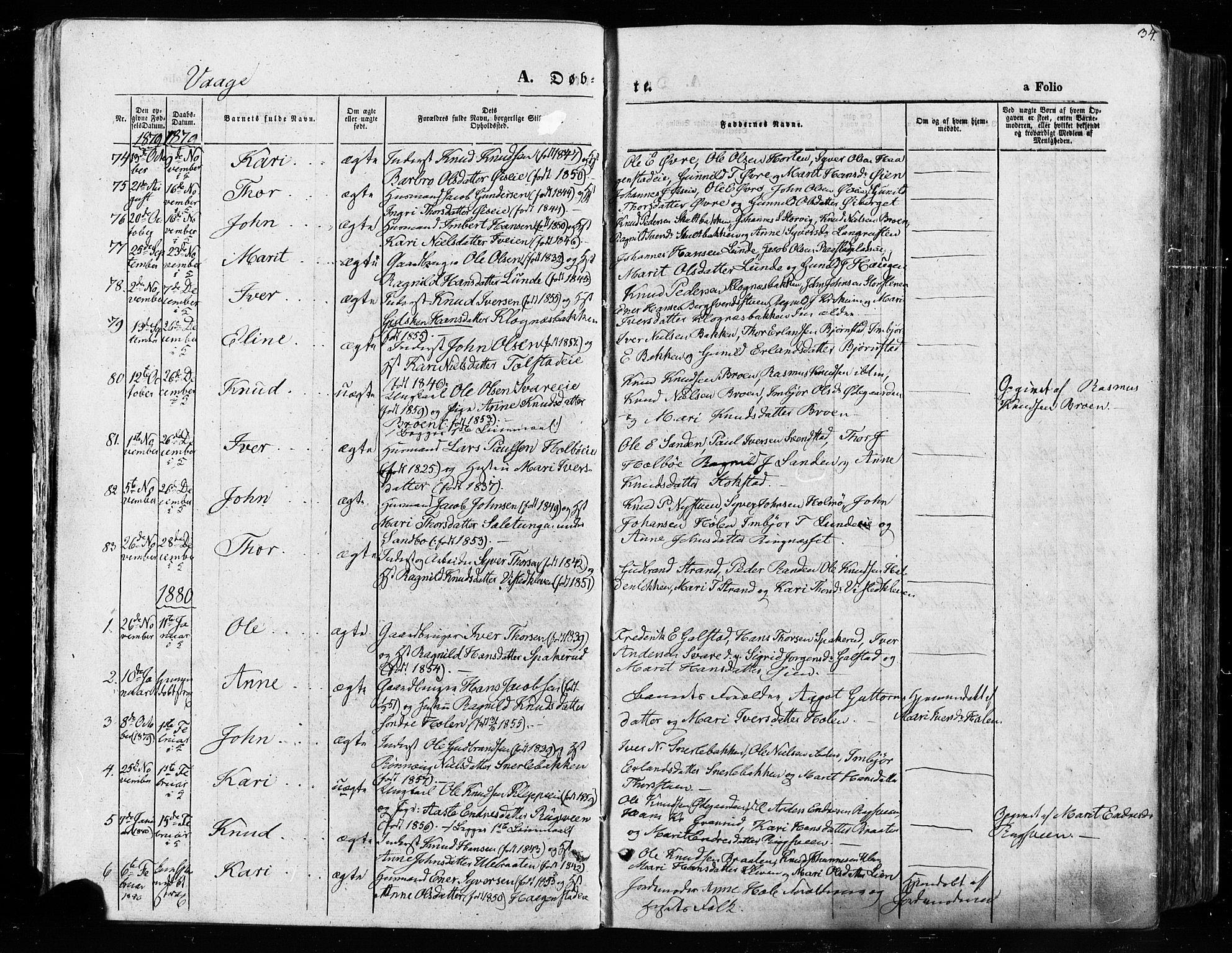 SAH, Vågå prestekontor, Ministerialbok nr. 7 /1, 1872-1886, s. 34