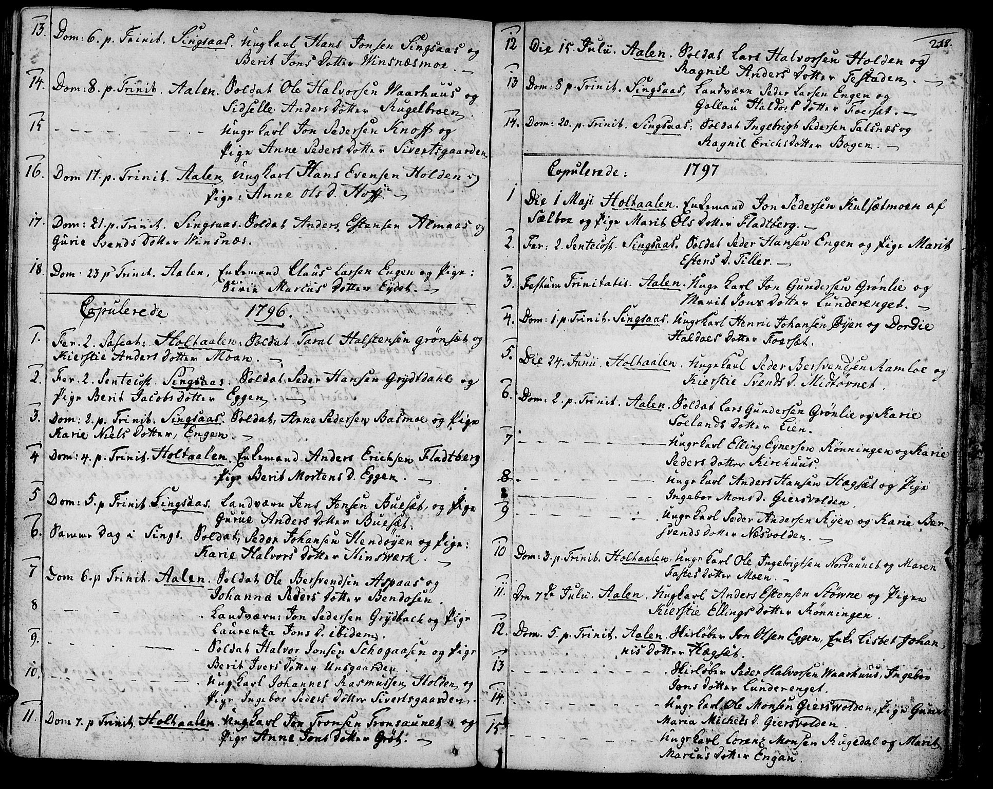 SAT, Ministerialprotokoller, klokkerbøker og fødselsregistre - Sør-Trøndelag, 685/L0952: Ministerialbok nr. 685A01, 1745-1804, s. 218