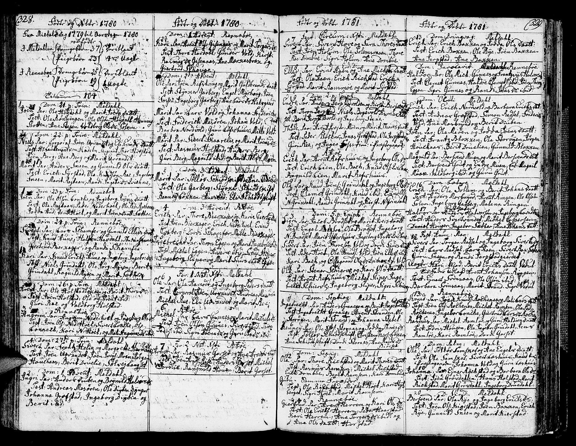 SAT, Ministerialprotokoller, klokkerbøker og fødselsregistre - Sør-Trøndelag, 672/L0852: Ministerialbok nr. 672A05, 1776-1815, s. 328-329