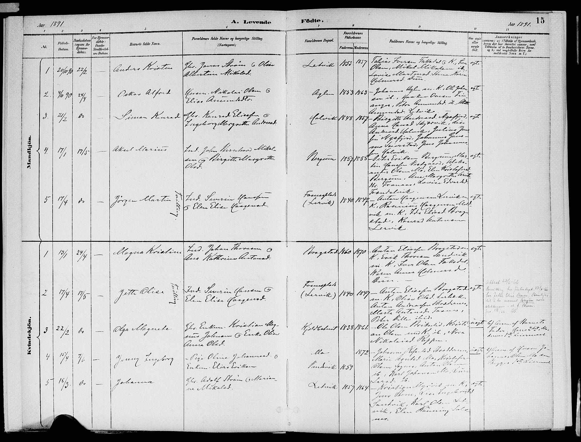 SAT, Ministerialprotokoller, klokkerbøker og fødselsregistre - Nord-Trøndelag, 773/L0617: Ministerialbok nr. 773A08, 1887-1910, s. 15
