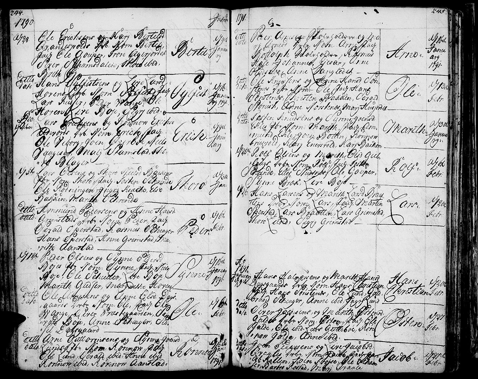 SAH, Lom prestekontor, K/L0002: Ministerialbok nr. 2, 1749-1801, s. 244-245