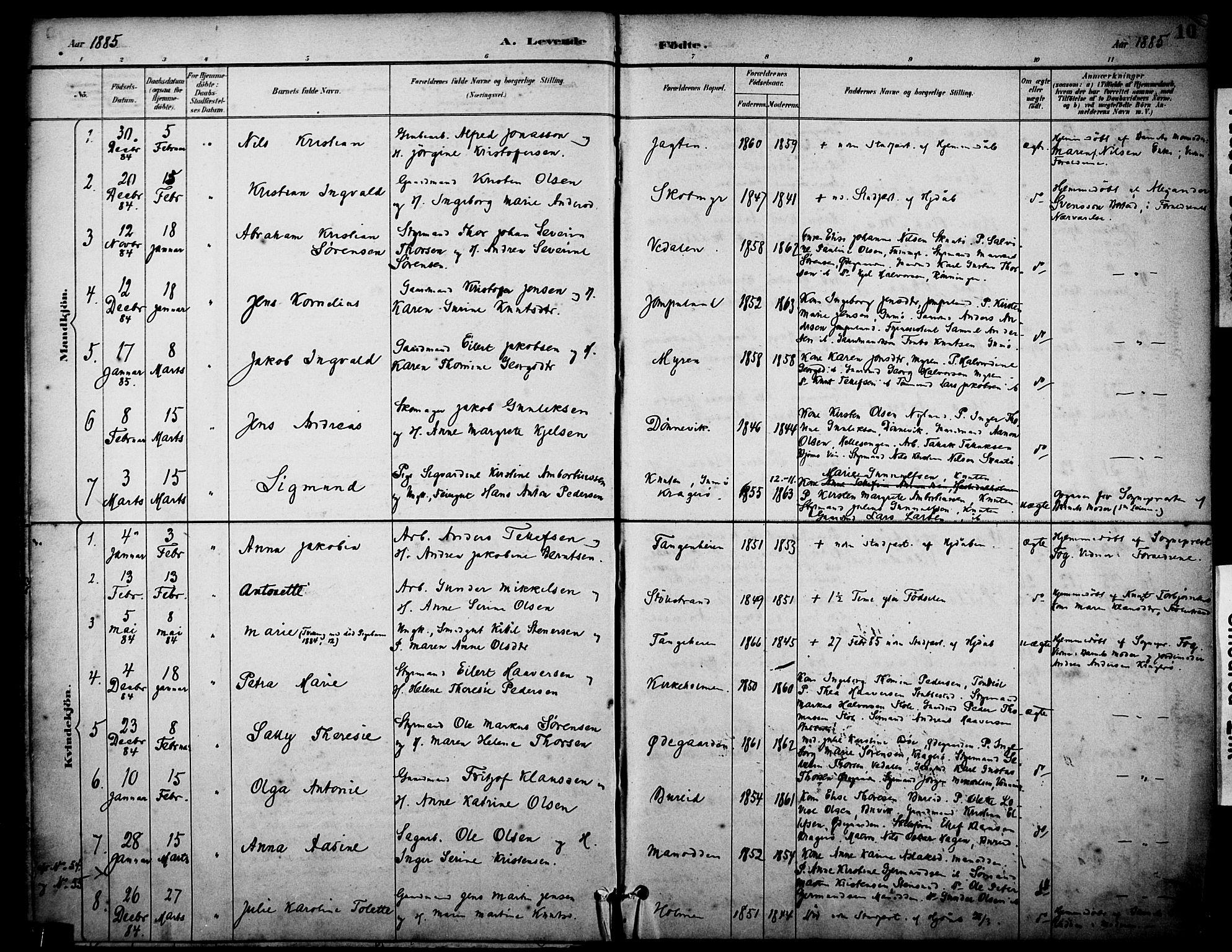 SAKO, Skåtøy kirkebøker, F/Fa/L0002: Ministerialbok nr. I 2, 1884-1899, s. 10