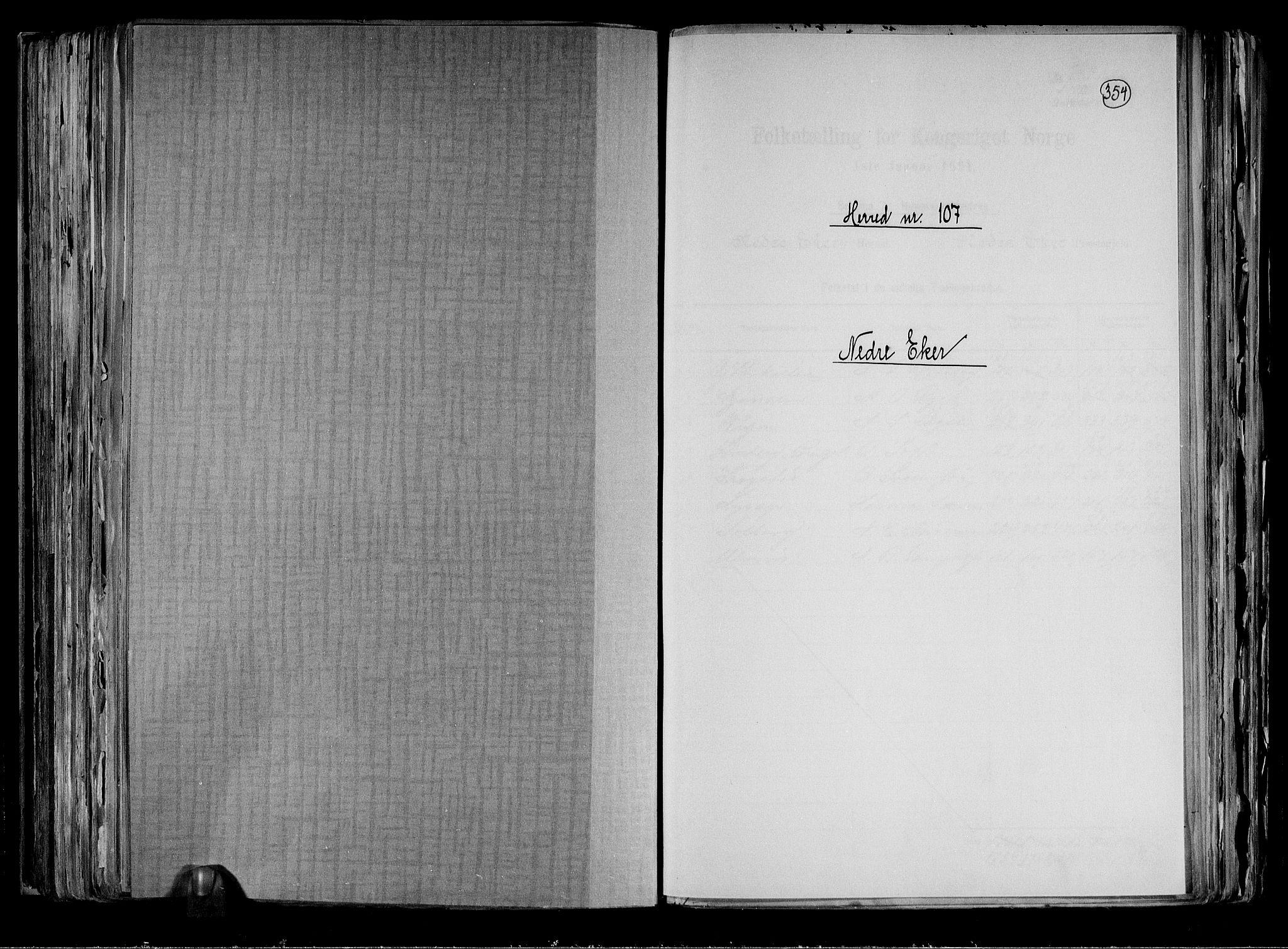 RA, Folketelling 1891 for 0625 Nedre Eiker herred, 1891, s. 1