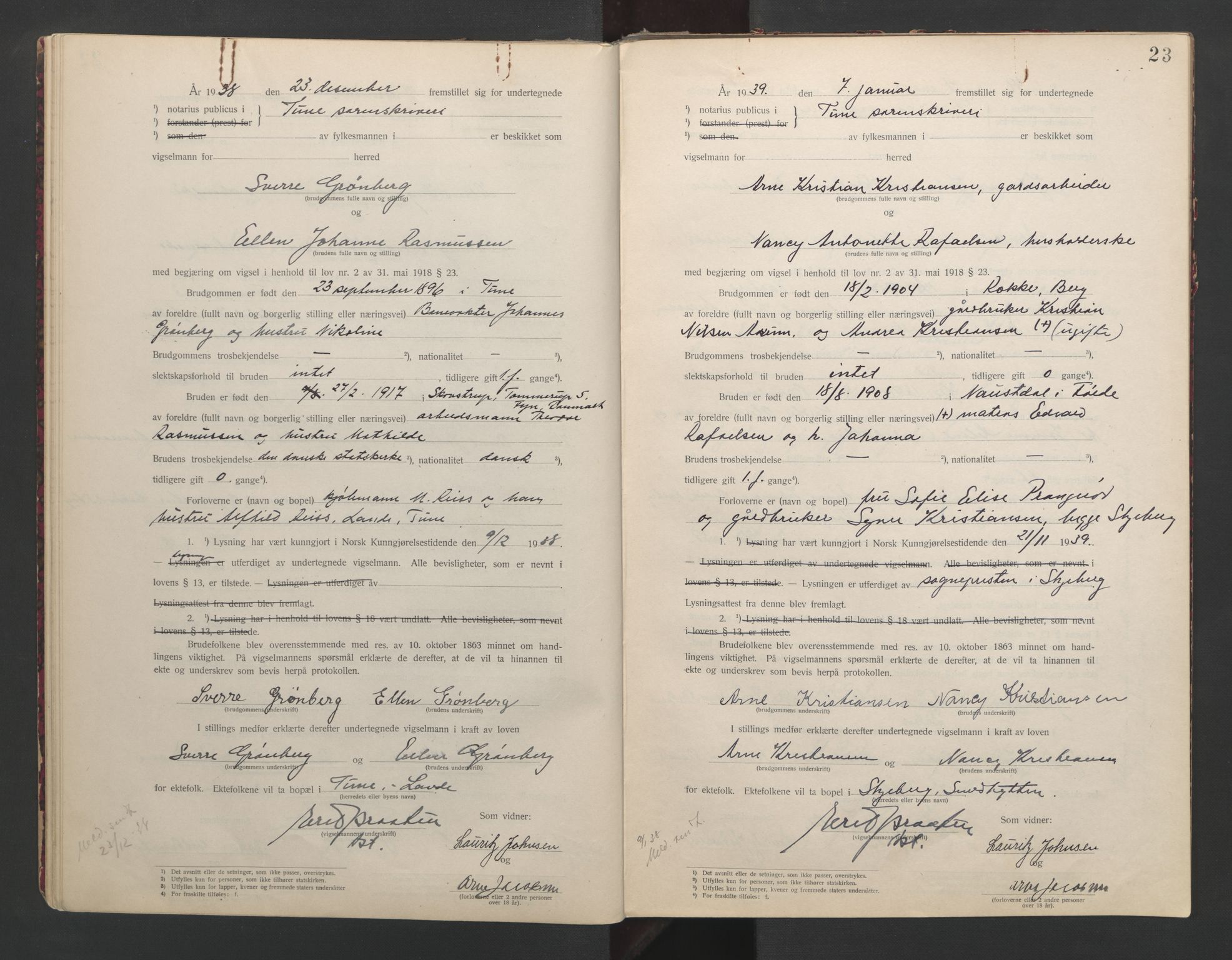 SAO, Tune sorenskriveri, L/Lb/L0001: Vigselprotokoll, 1923-1943, s. 23
