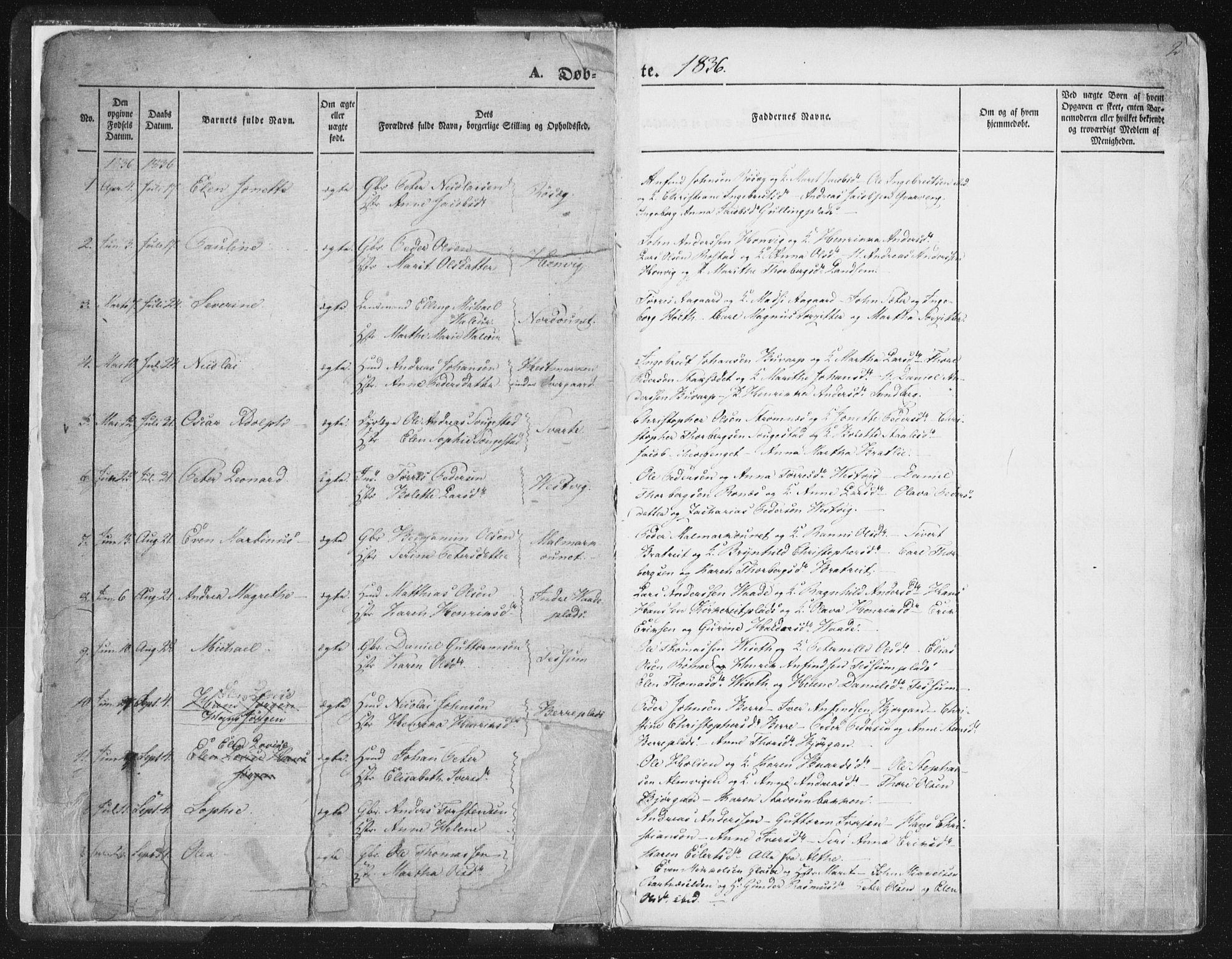SAT, Ministerialprotokoller, klokkerbøker og fødselsregistre - Nord-Trøndelag, 741/L0392: Ministerialbok nr. 741A06, 1836-1848, s. 2