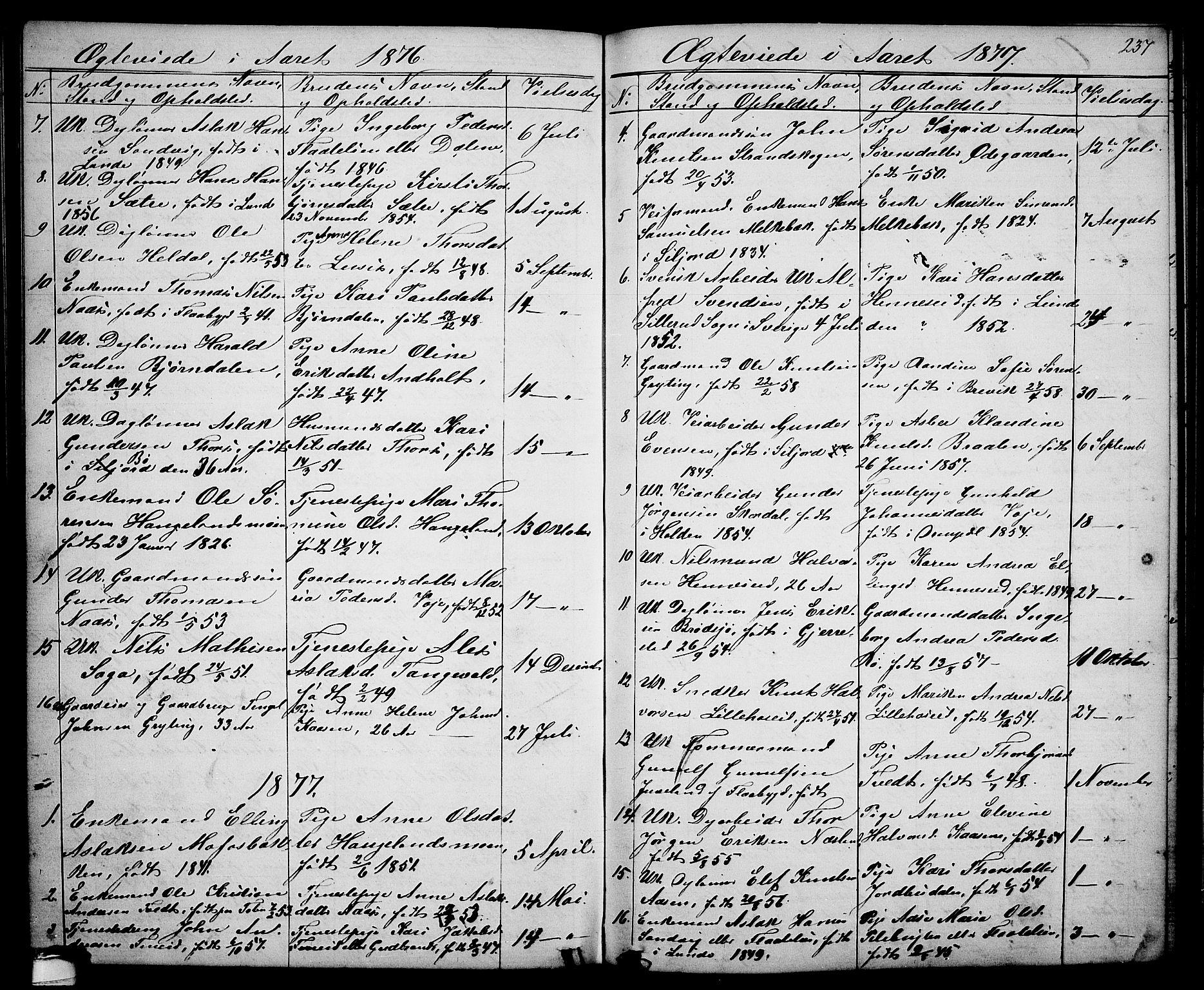 SAKO, Drangedal kirkebøker, G/Ga/L0002: Klokkerbok nr. I 2, 1856-1887, s. 237