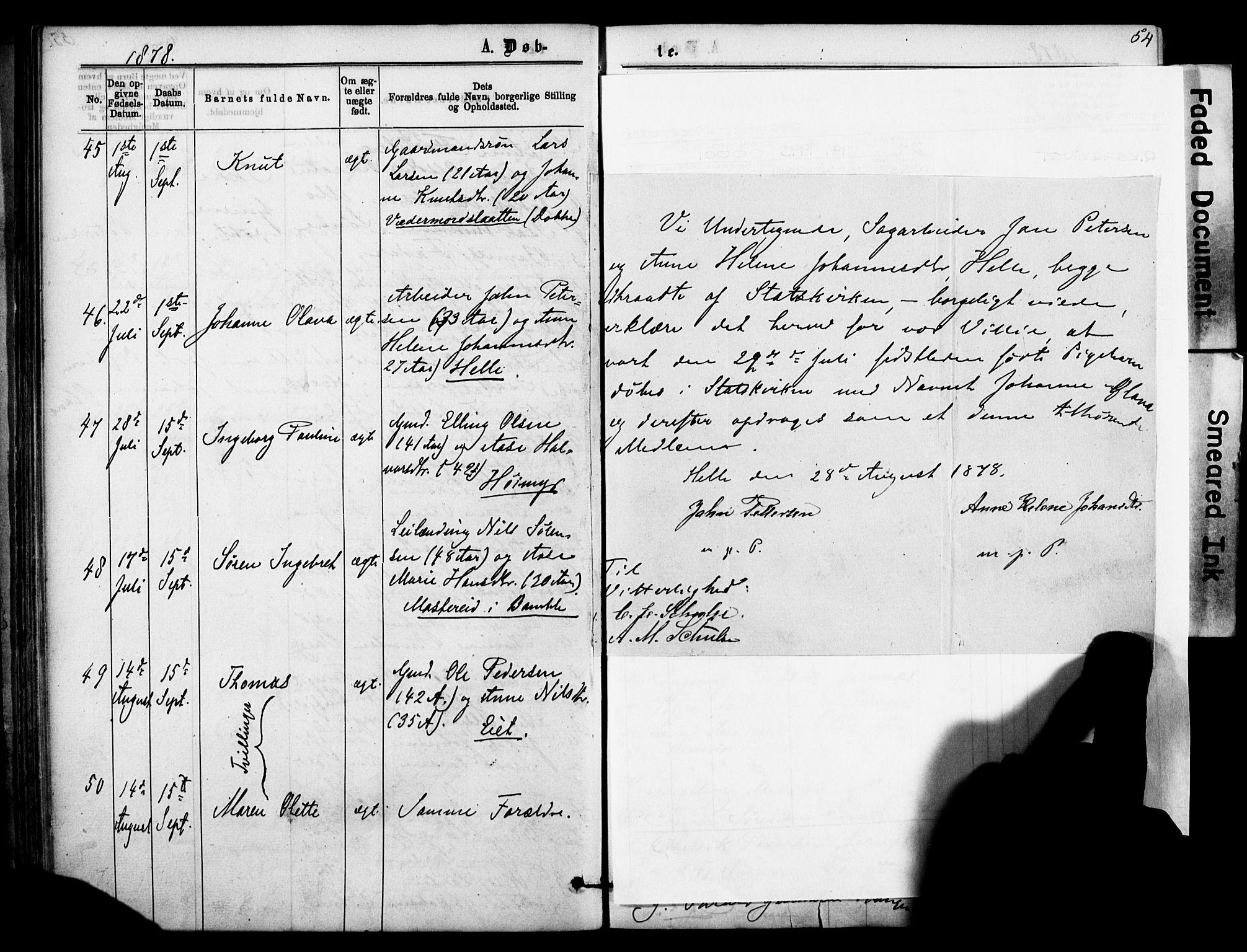 SAKO, Sannidal kirkebøker, F/Fa/L0014: Ministerialbok nr. 14, 1874-1883, s. 54