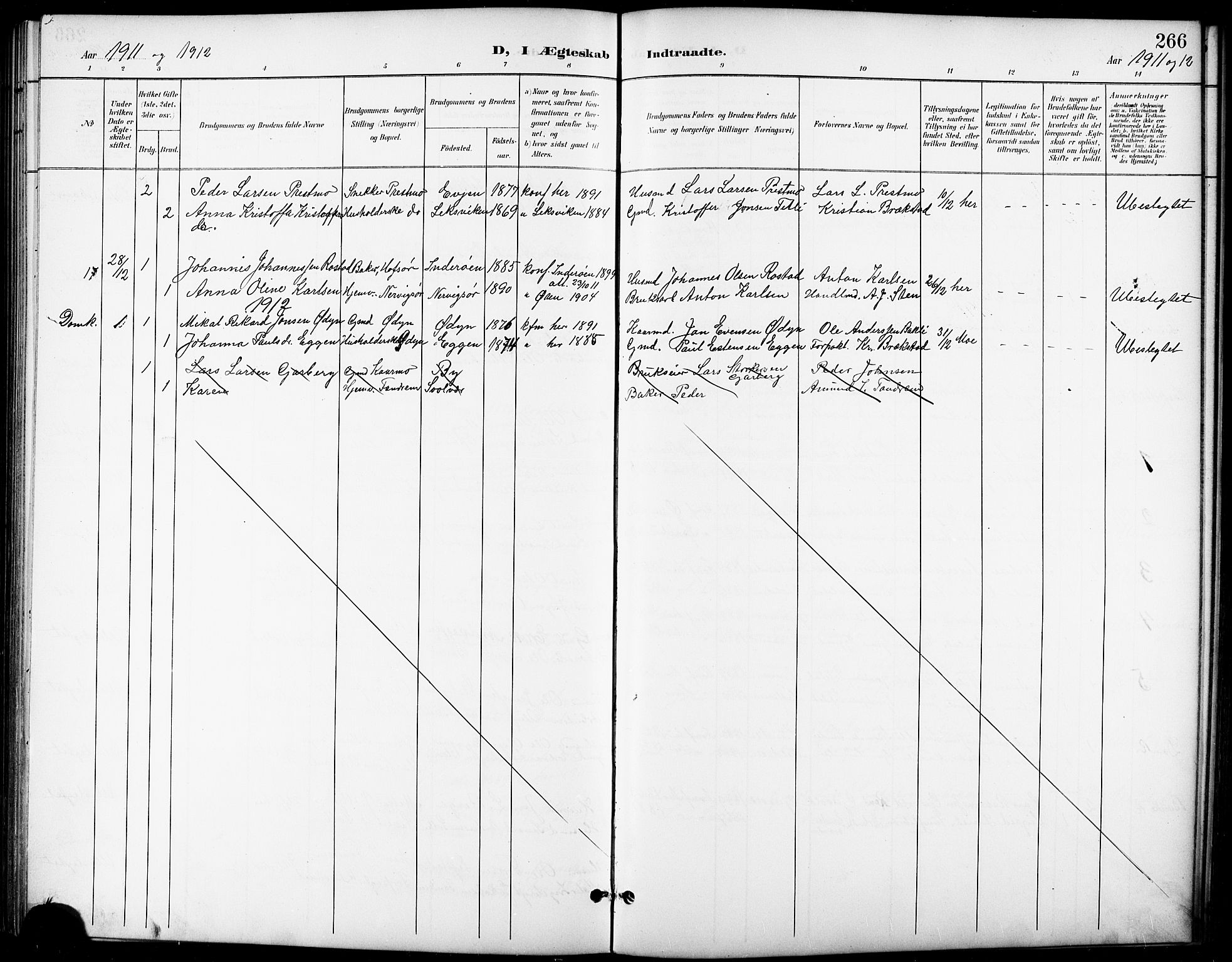 SAT, Ministerialprotokoller, klokkerbøker og fødselsregistre - Sør-Trøndelag, 668/L0819: Klokkerbok nr. 668C08, 1899-1912, s. 266