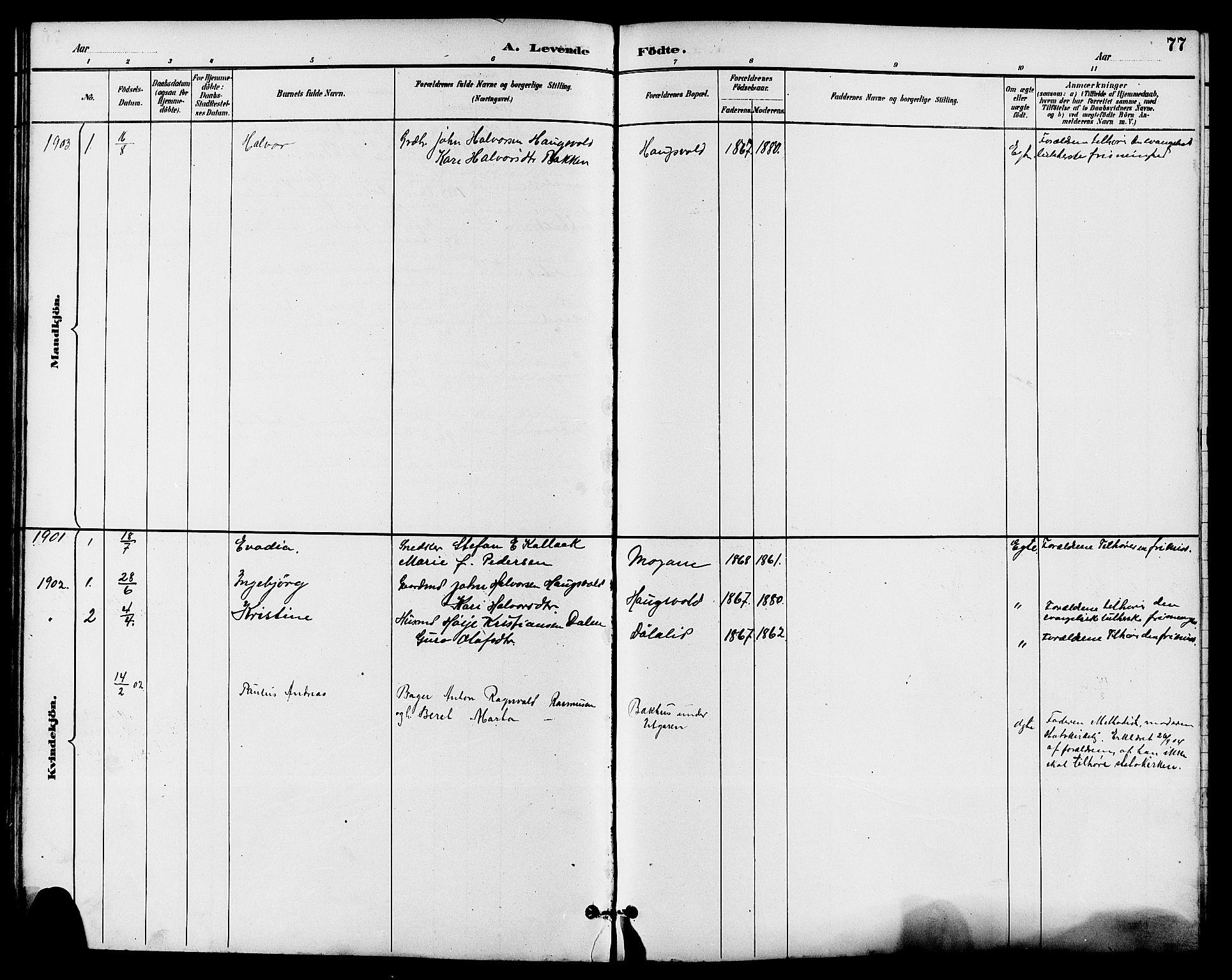 SAKO, Seljord kirkebøker, G/Ga/L0005: Klokkerbok nr. I 5, 1887-1914, s. 77