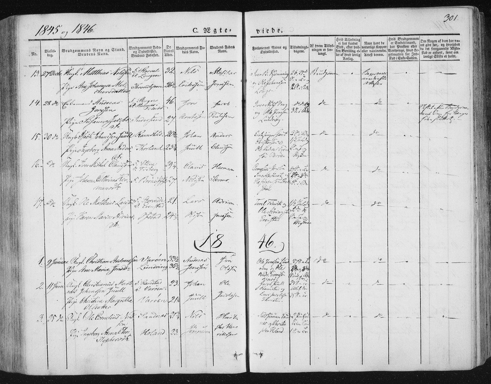 SAT, Ministerialprotokoller, klokkerbøker og fødselsregistre - Nord-Trøndelag, 784/L0669: Ministerialbok nr. 784A04, 1829-1859, s. 301