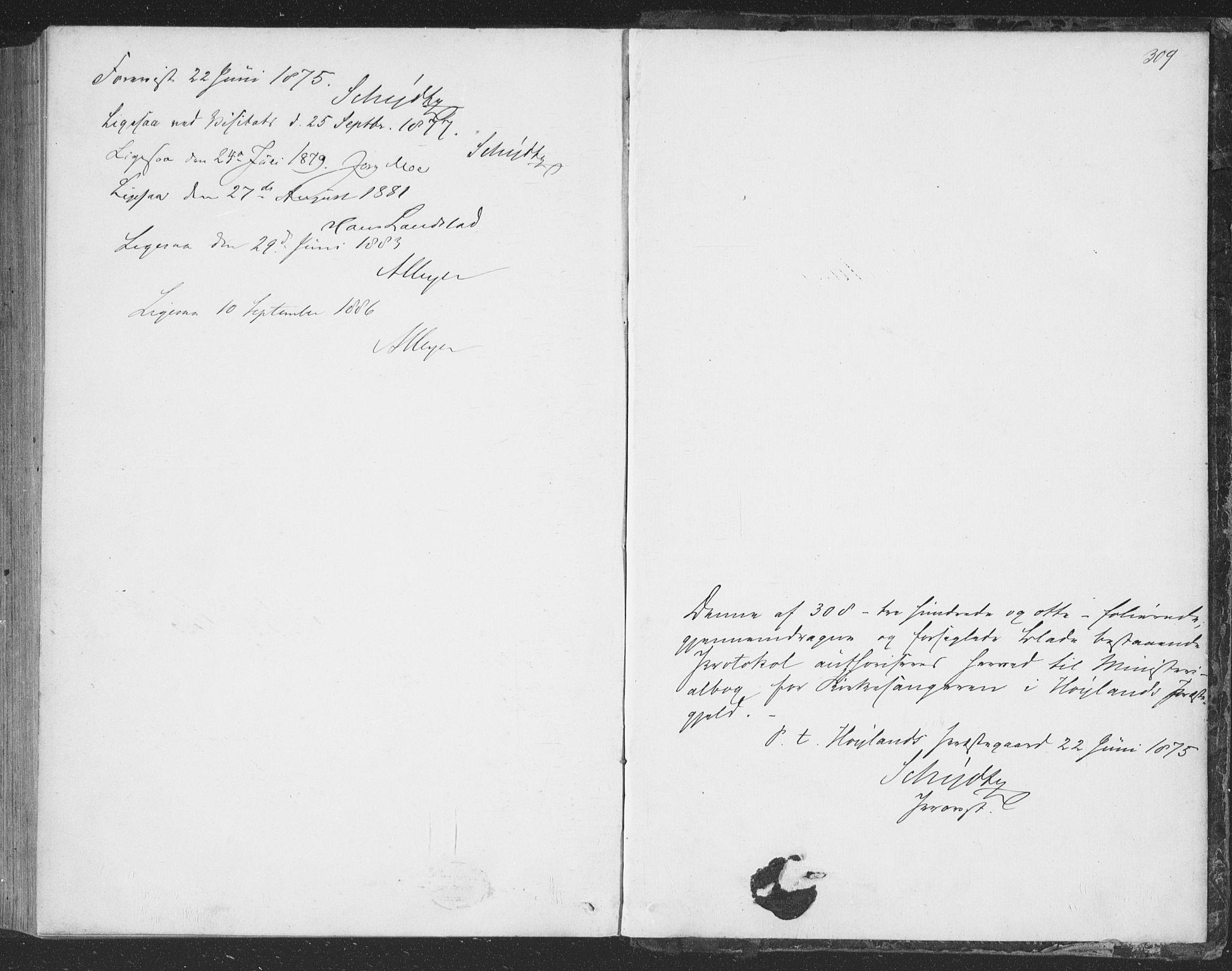 SAST, Høyland sokneprestkontor, 30BB/L0002: Klokkerbok nr. B 2, 1874-1886, s. 309
