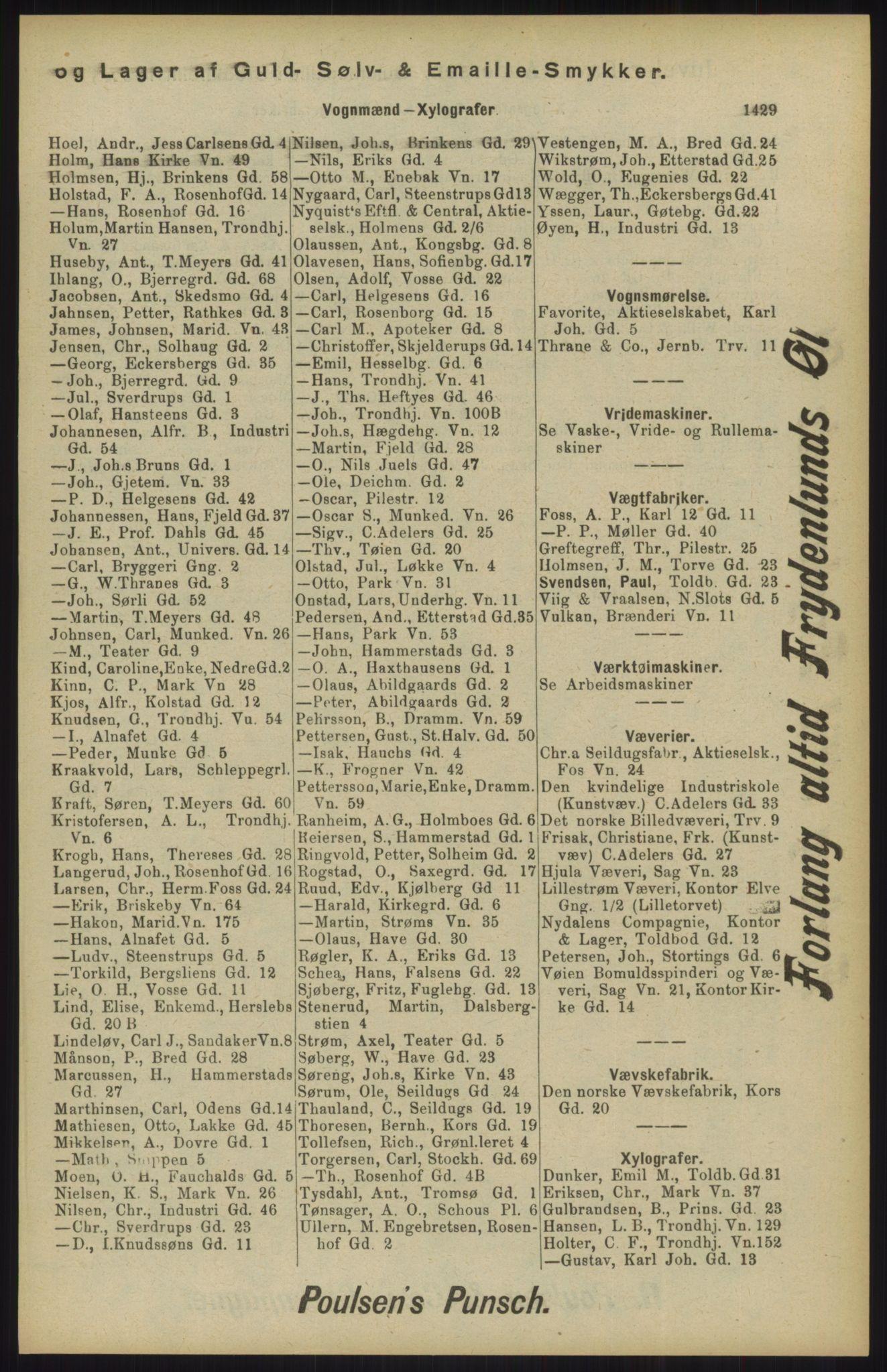 RA, Kristiania adressebok (publikasjon)*, 1904, s. 1429
