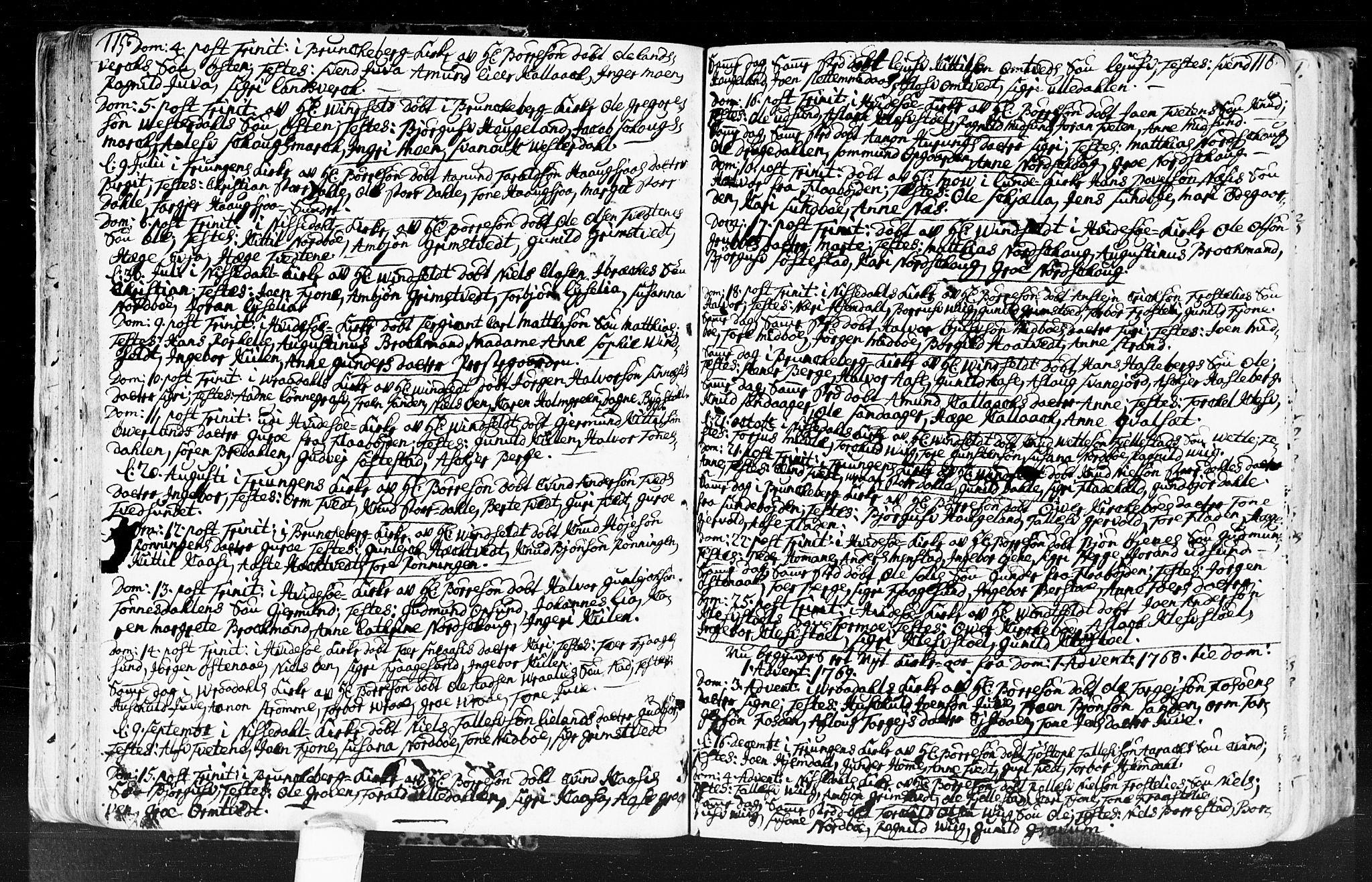 SAKO, Kviteseid kirkebøker, F/Fa/L0001: Ministerialbok nr. I 1, 1754-1773, s. 115-116