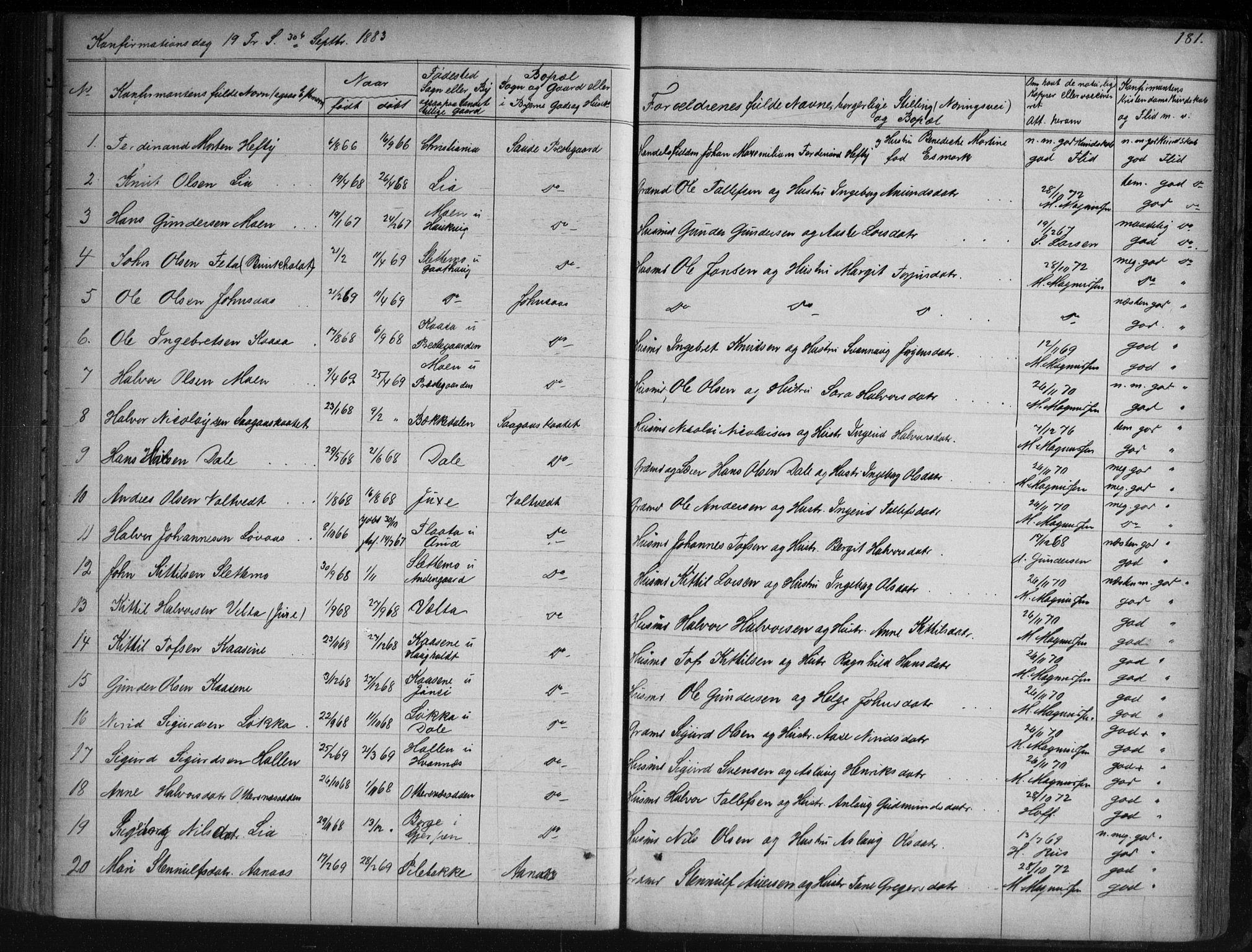 SAKO, Sauherad kirkebøker, G/Ga/L0003: Klokkerbok nr. I 3, 1866-1905, s. 181