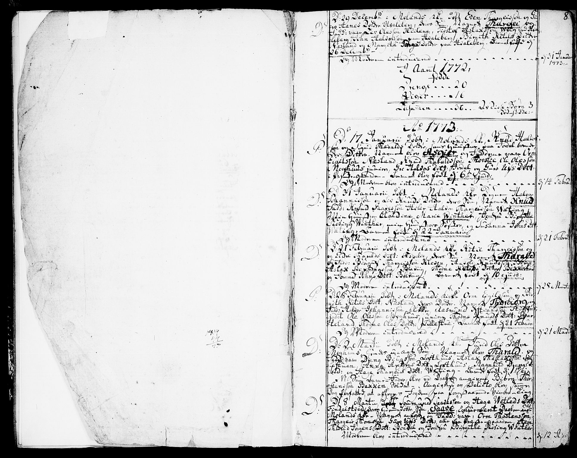 SAKO, Fyresdal kirkebøker, F/Fa/L0002: Ministerialbok nr. I 2, 1769-1814, s. 8