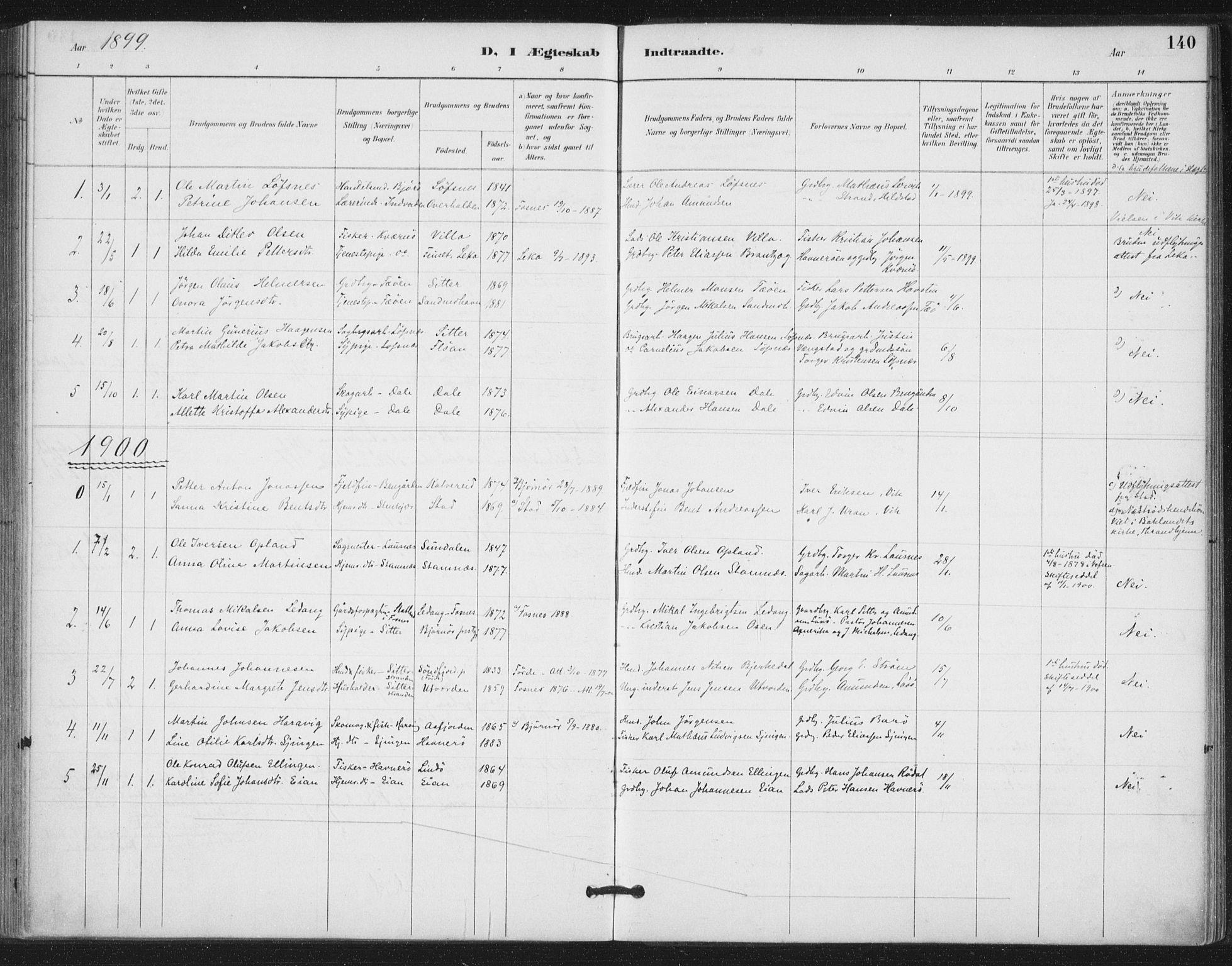 SAT, Ministerialprotokoller, klokkerbøker og fødselsregistre - Nord-Trøndelag, 772/L0603: Ministerialbok nr. 772A01, 1885-1912, s. 140