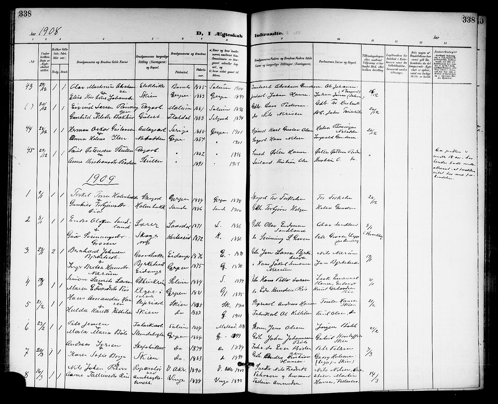 SAKO, Gjerpen kirkebøker, G/Ga/L0003: Klokkerbok nr. I 3, 1901-1919, s. 338