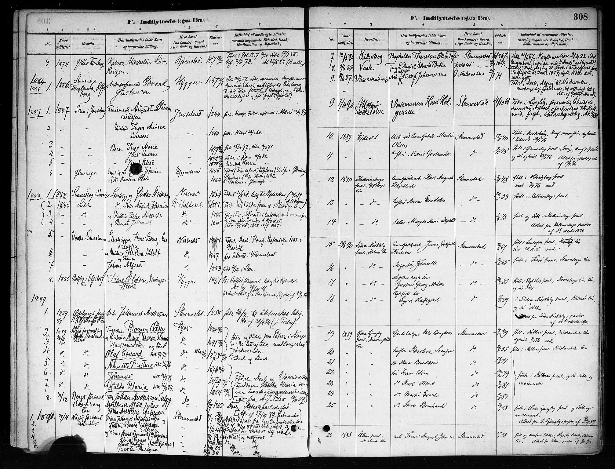 SAKO, Røyken kirkebøker, F/Fa/L0008: Ministerialbok nr. 8, 1880-1897, s. 308