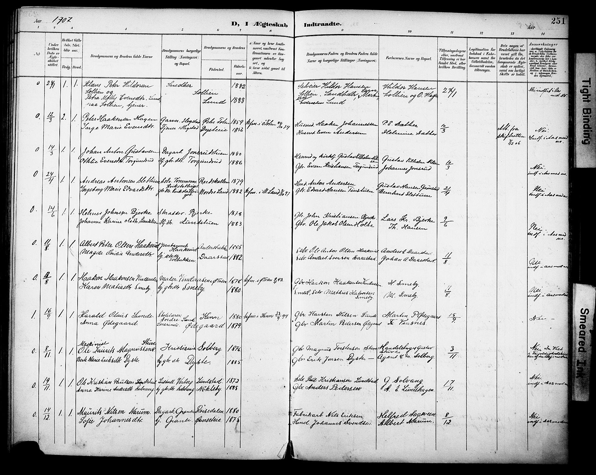 SAH, Vestre Toten prestekontor, H/Ha/Haa/L0013: Ministerialbok nr. 13, 1895-1911, s. 251