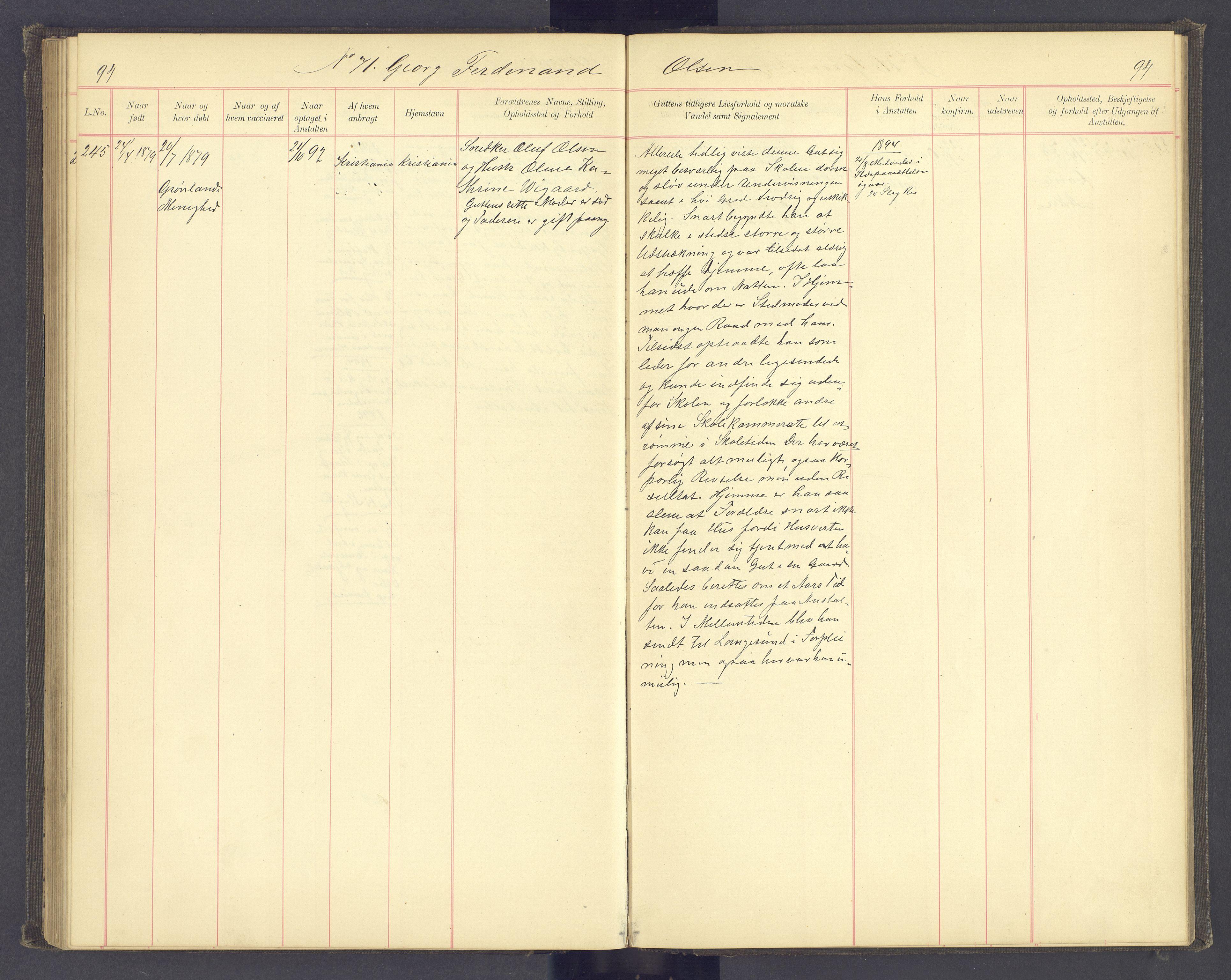 SAH, Toftes Gave, F/Fc/L0004: Elevprotokoll, 1885-1897, s. 94
