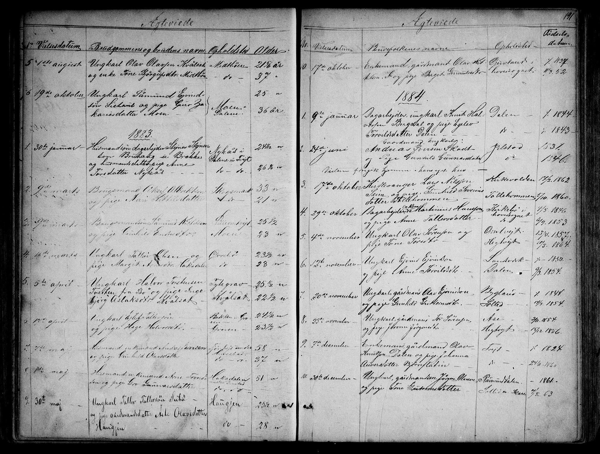 SAKO, Kviteseid kirkebøker, G/Gb/L0002: Klokkerbok nr. II 2, 1850-1892, s. 191