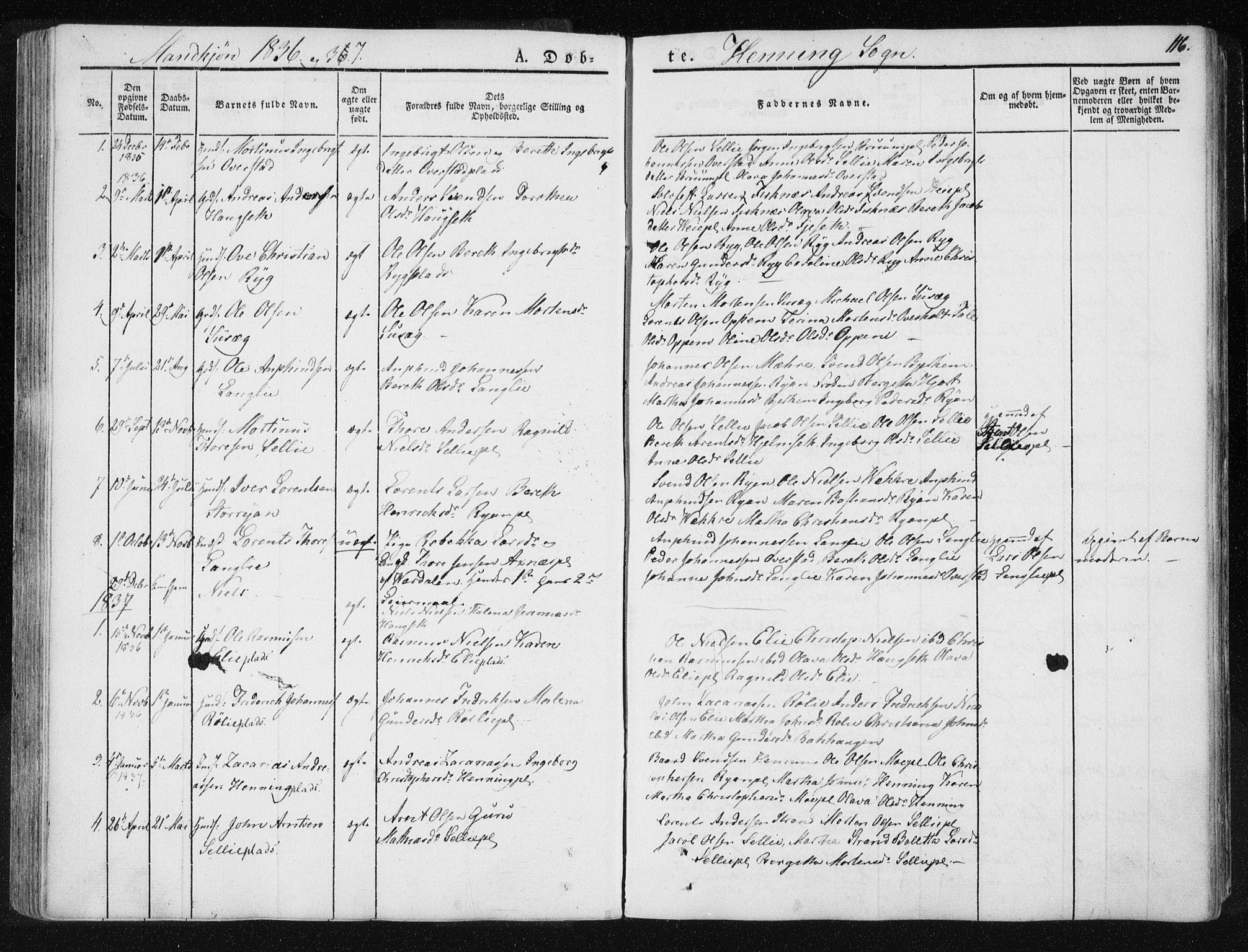 SAT, Ministerialprotokoller, klokkerbøker og fødselsregistre - Nord-Trøndelag, 735/L0339: Ministerialbok nr. 735A06 /3, 1836-1848, s. 116