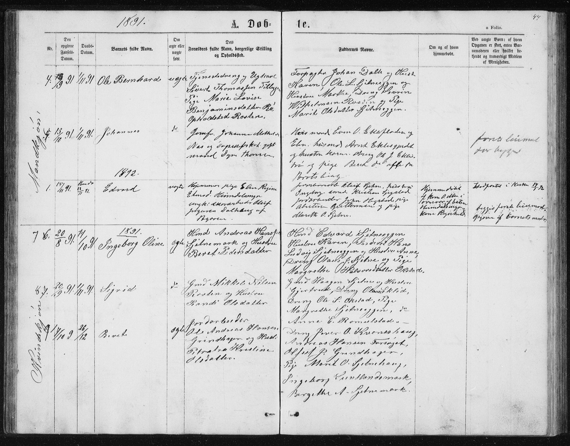 SAT, Ministerialprotokoller, klokkerbøker og fødselsregistre - Sør-Trøndelag, 621/L0459: Klokkerbok nr. 621C02, 1866-1895, s. 44