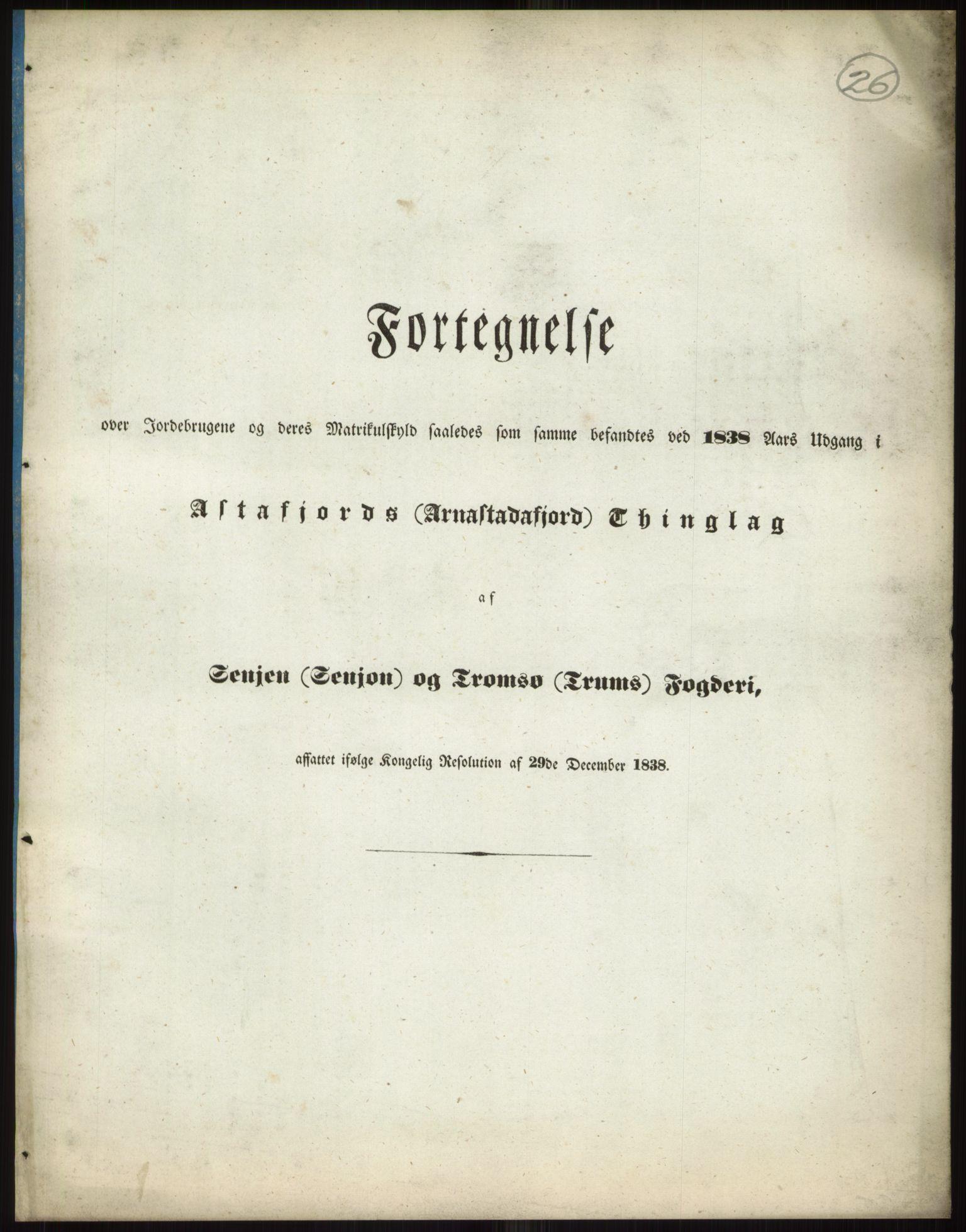 RA, 1838-matrikkelen (publikasjon)*, 1838, s. 26a