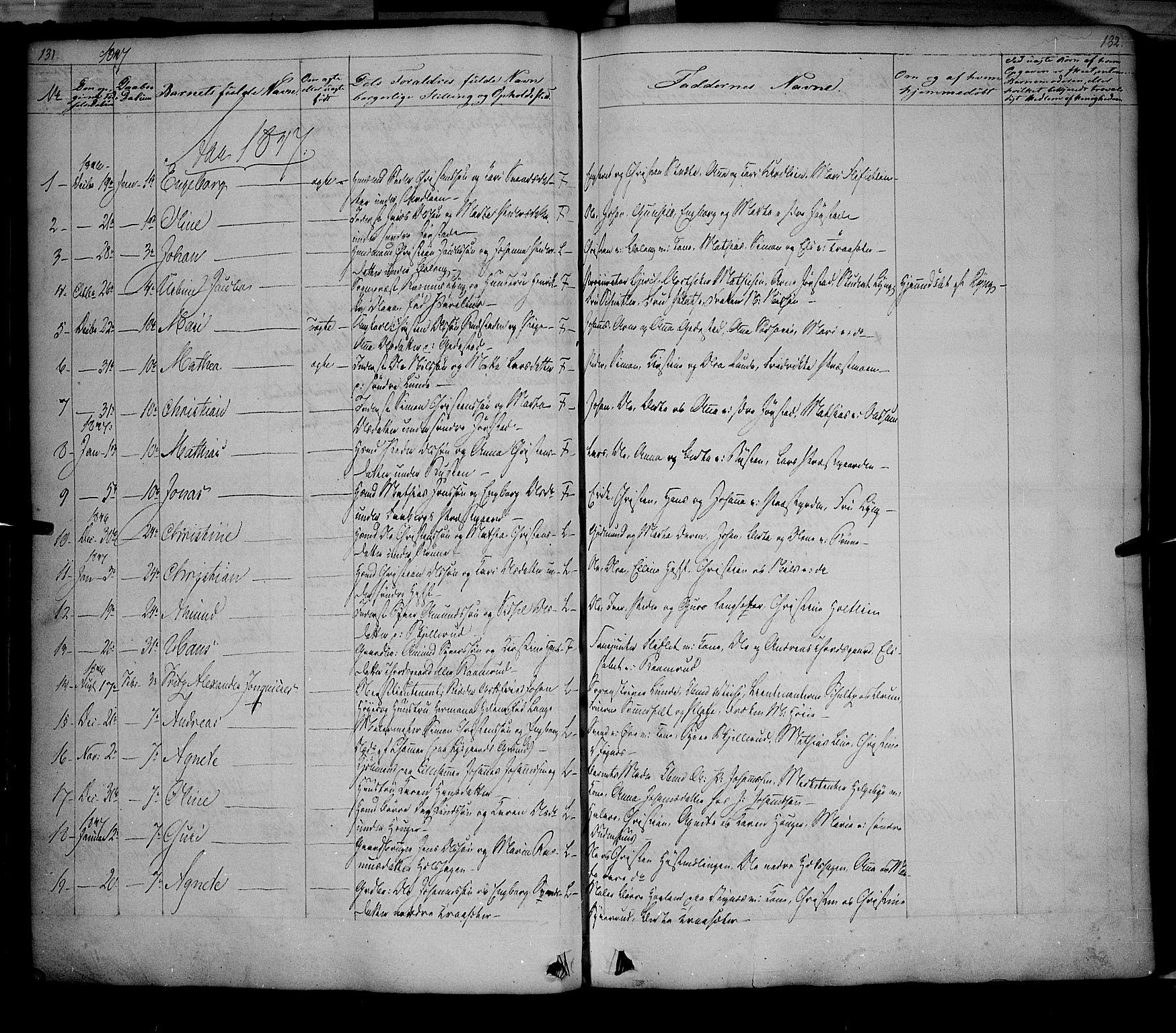 SAH, Fåberg prestekontor, Ministerialbok nr. 5, 1836-1854, s. 131-132