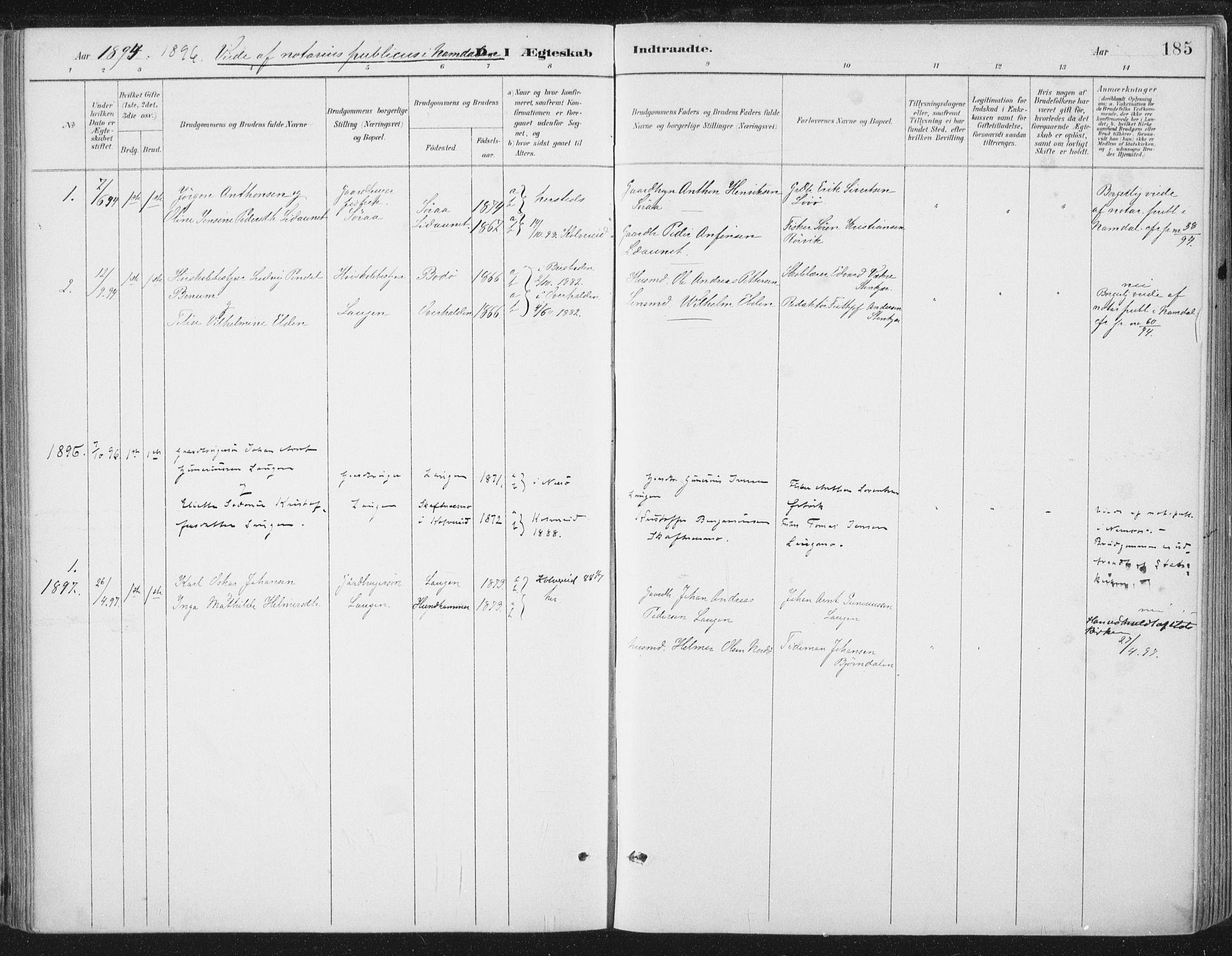 SAT, Ministerialprotokoller, klokkerbøker og fødselsregistre - Nord-Trøndelag, 784/L0673: Ministerialbok nr. 784A08, 1888-1899, s. 185