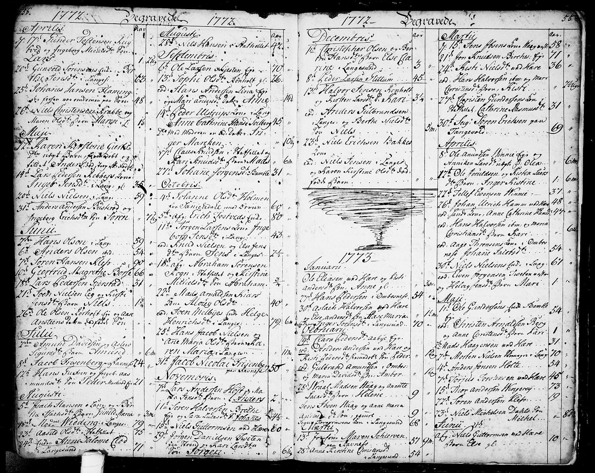 SAKO, Bamble kirkebøker, F/Fa/L0001: Ministerialbok nr. I 1, 1702-1774, s. 556-557
