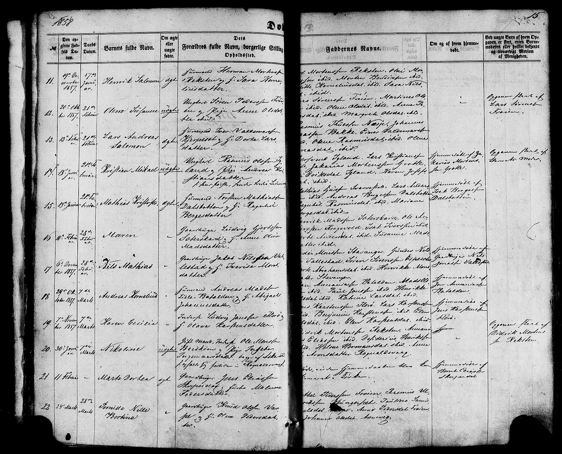 SAB, Kinn Sokneprestembete, Ministerialbok nr. A 6, 1857-1885, s. 15