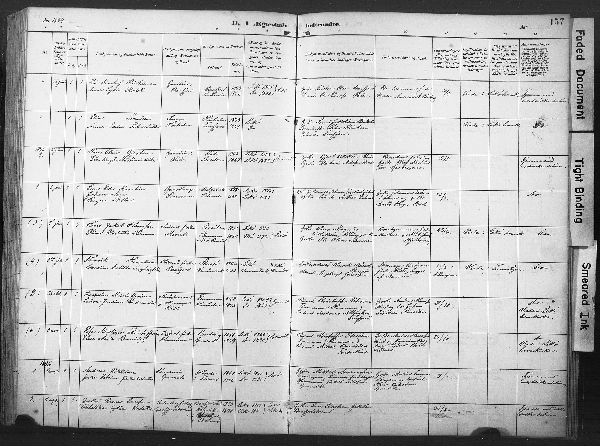 SAT, Ministerialprotokoller, klokkerbøker og fødselsregistre - Nord-Trøndelag, 789/L0706: Klokkerbok nr. 789C01, 1888-1931, s. 157
