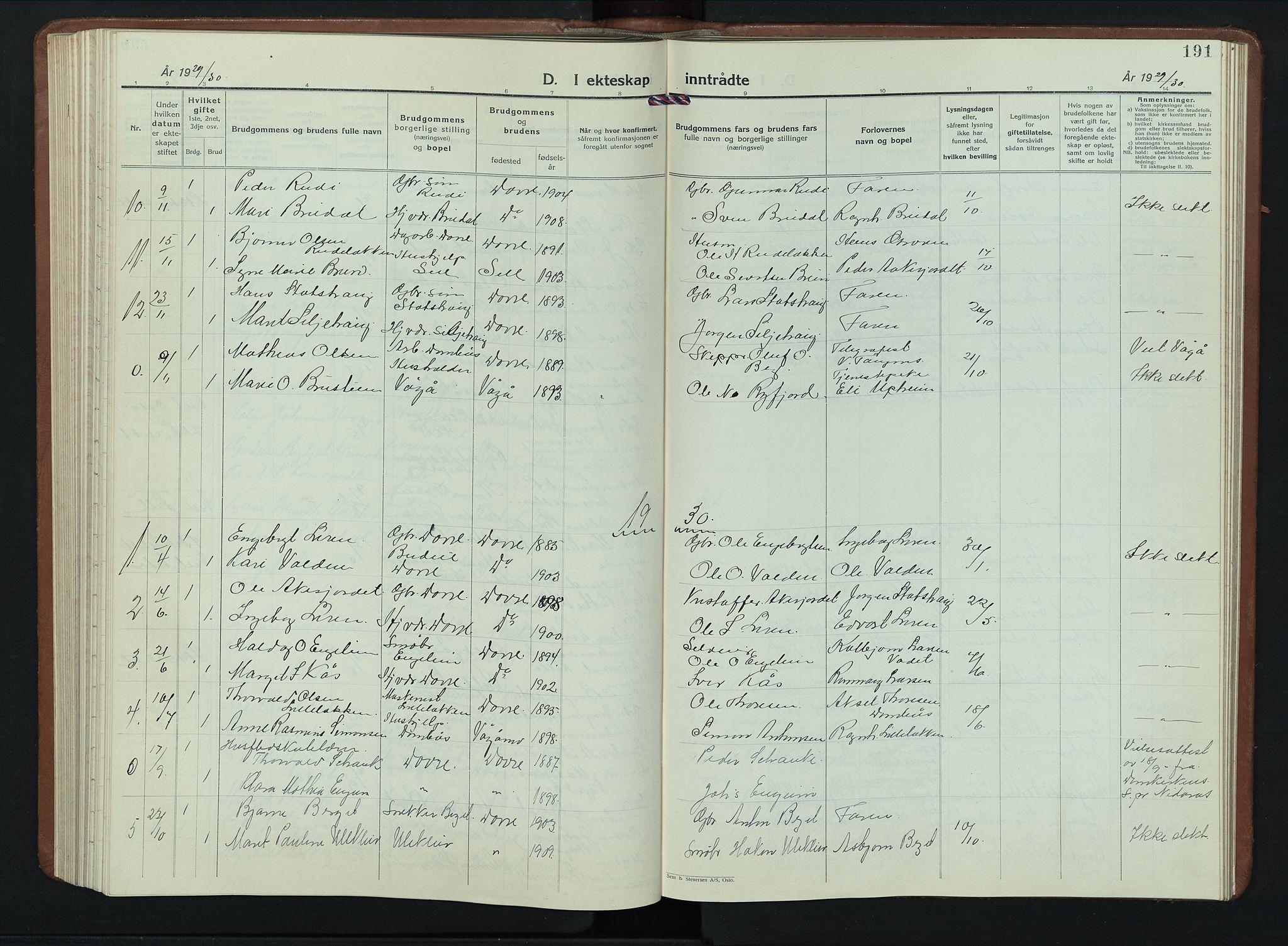 SAH, Dovre prestekontor, Klokkerbok nr. 4, 1926-1949, s. 191