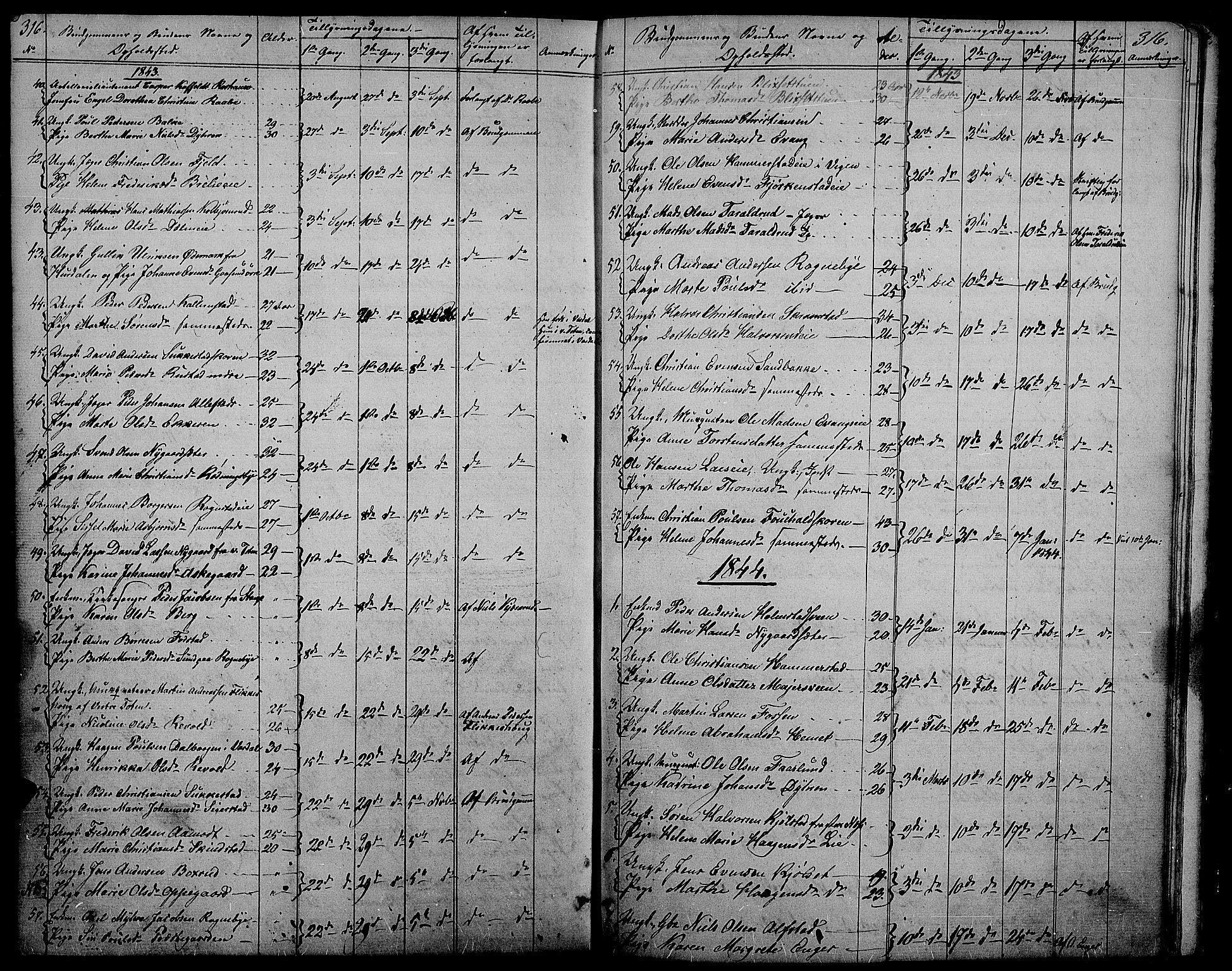 SAH, Østre Toten prestekontor, Klokkerbok nr. 2, 1840-1847, s. 316