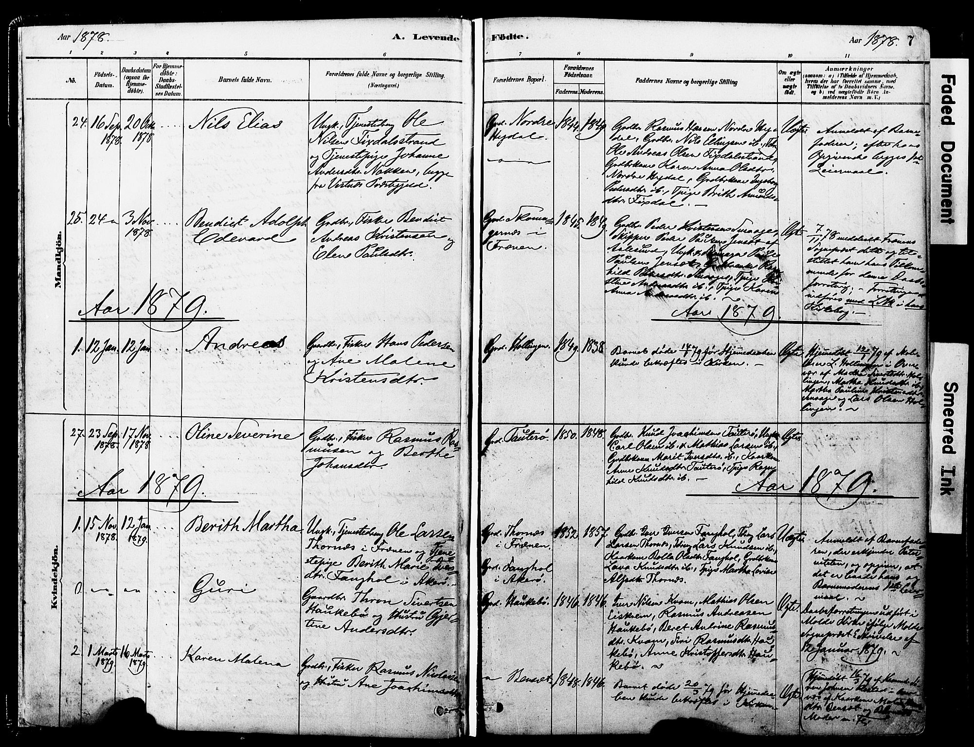 SAT, Ministerialprotokoller, klokkerbøker og fødselsregistre - Møre og Romsdal, 560/L0721: Ministerialbok nr. 560A05, 1878-1917, s. 7