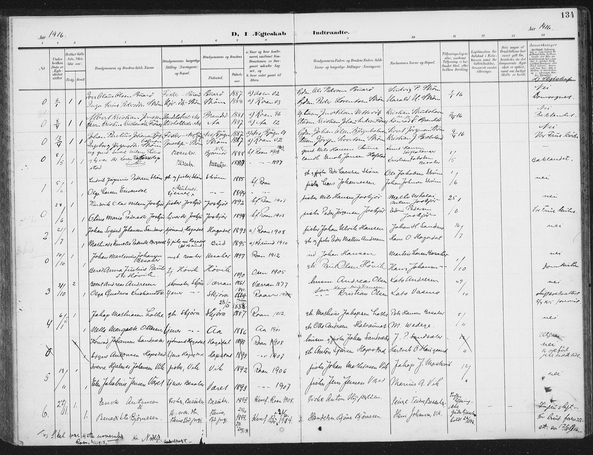 SAT, Ministerialprotokoller, klokkerbøker og fødselsregistre - Sør-Trøndelag, 657/L0709: Ministerialbok nr. 657A10, 1905-1919, s. 134