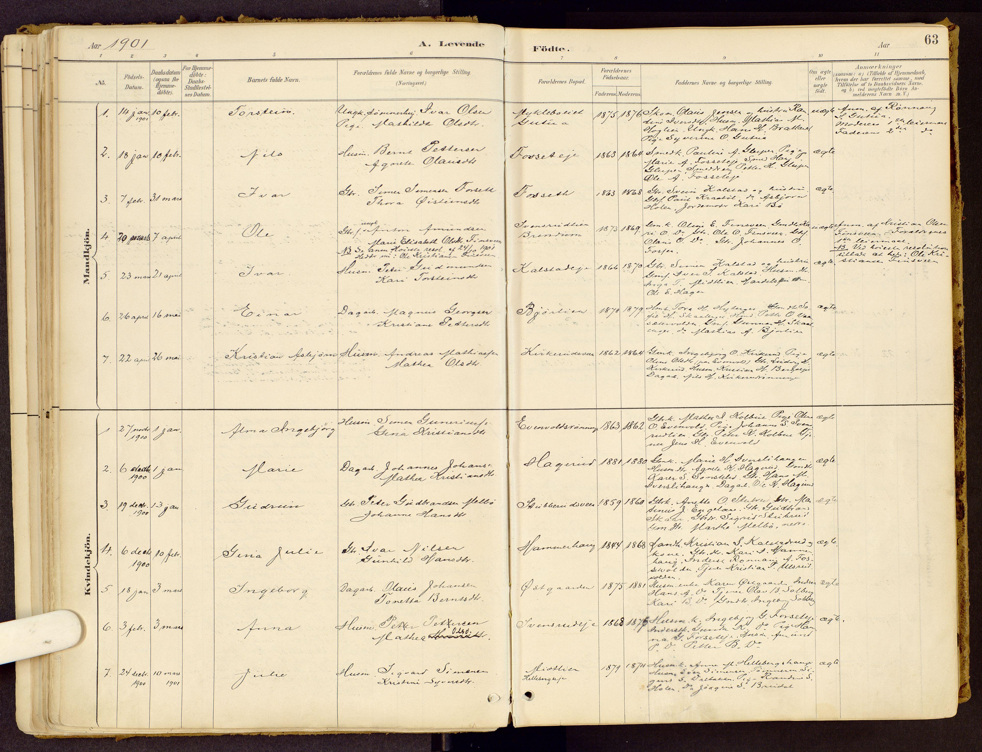SAH, Vestre Gausdal prestekontor, Ministerialbok nr. 1, 1887-1914, s. 63