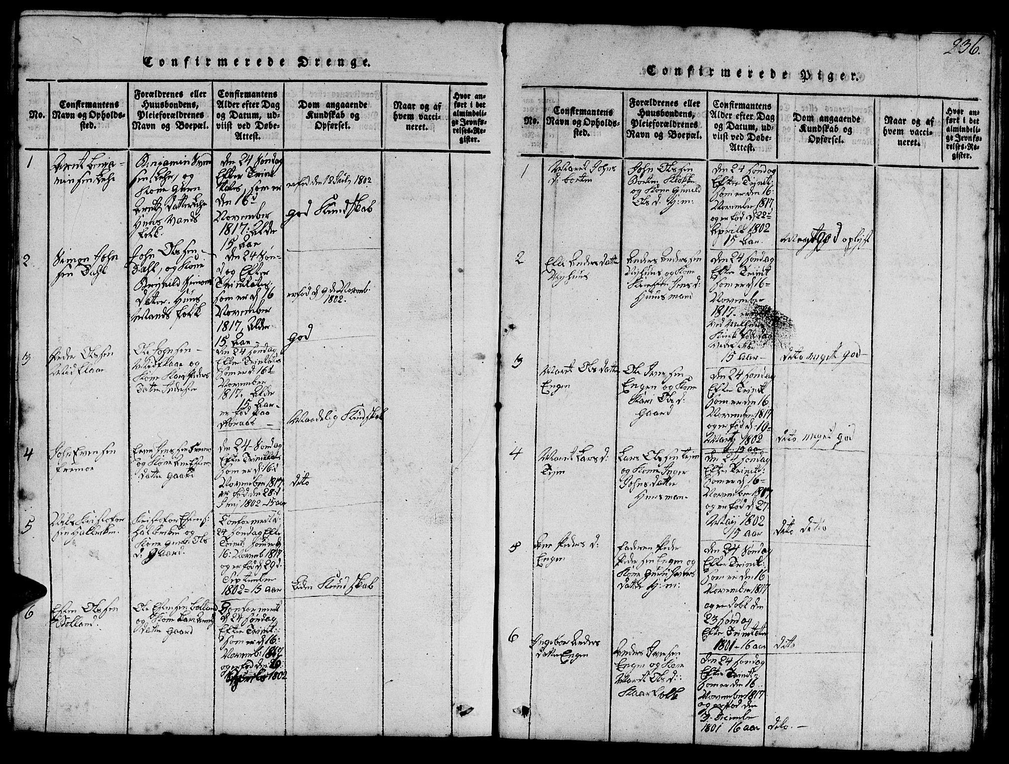 SAT, Ministerialprotokoller, klokkerbøker og fødselsregistre - Sør-Trøndelag, 693/L1121: Klokkerbok nr. 693C02, 1816-1869, s. 236